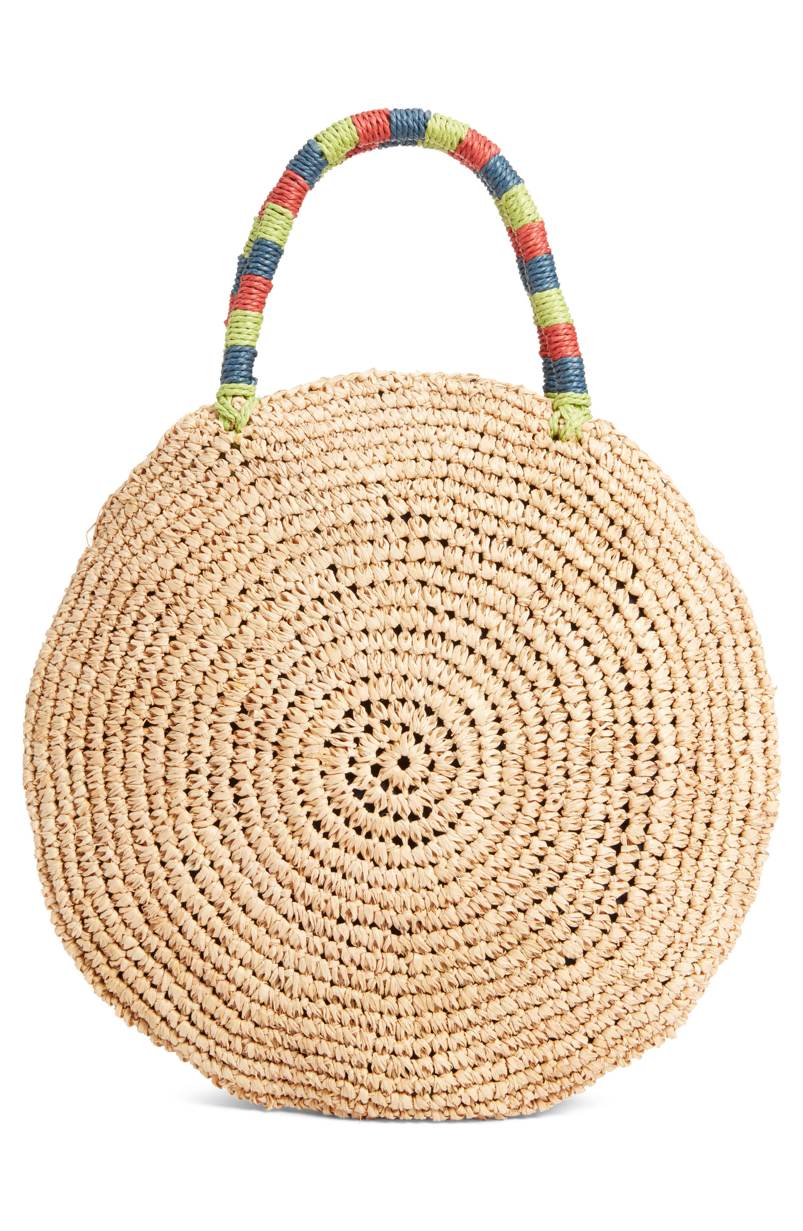 Multi Pom Circular Raffia Tote,                             Alternate thumbnail 3, color,                             Natural