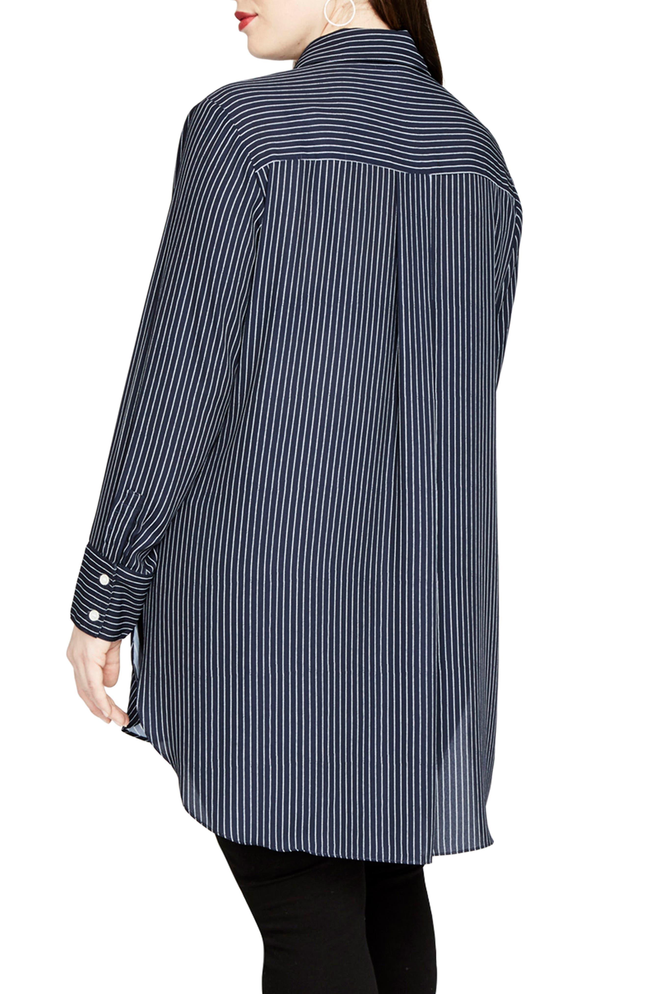 High/Low Pinstripe Shirt,                             Alternate thumbnail 2, color,                             Navy Combo