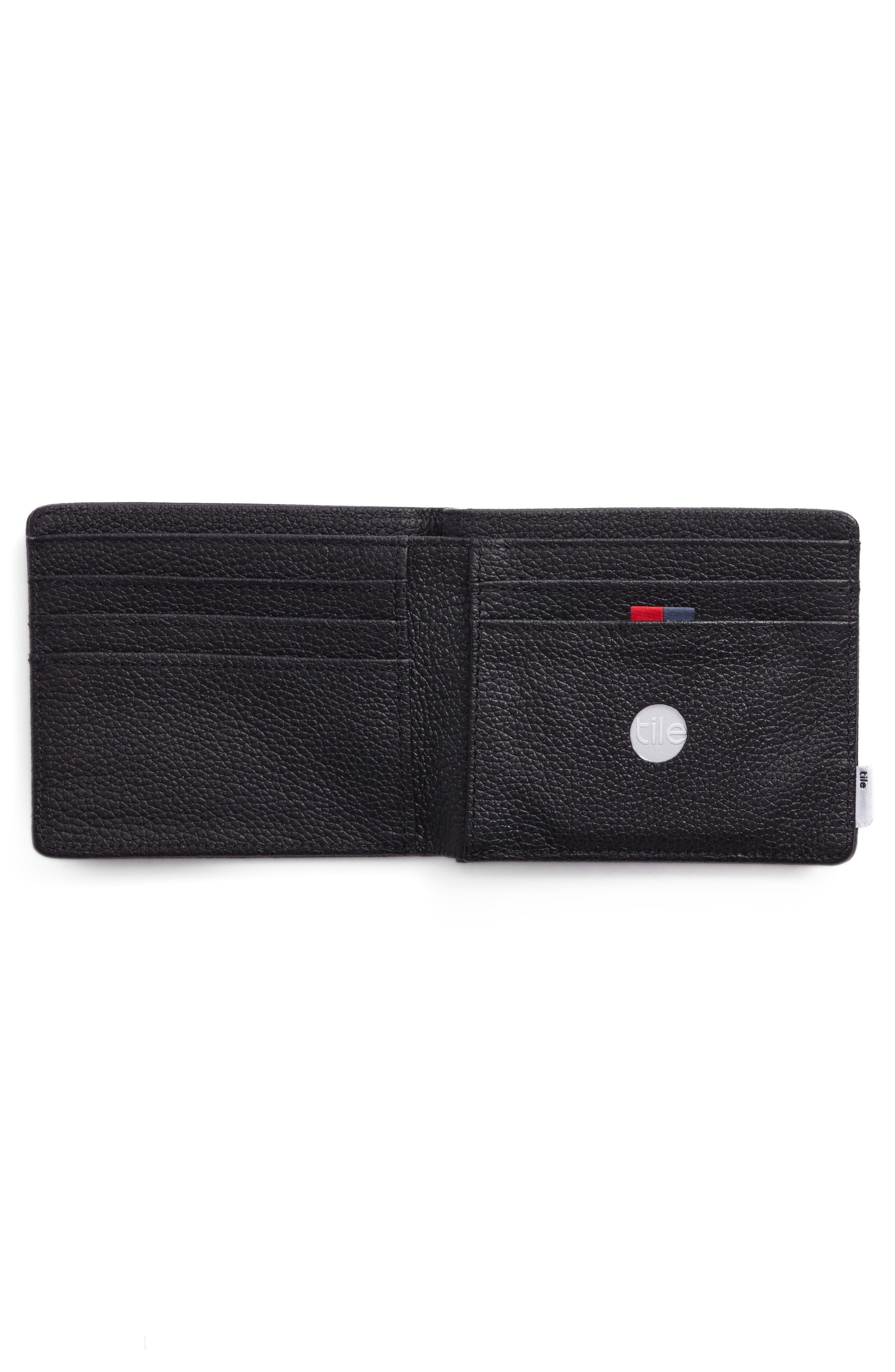 Tile Roy Leather Wallet,                             Alternate thumbnail 2, color,                             Black Pebbled Leather