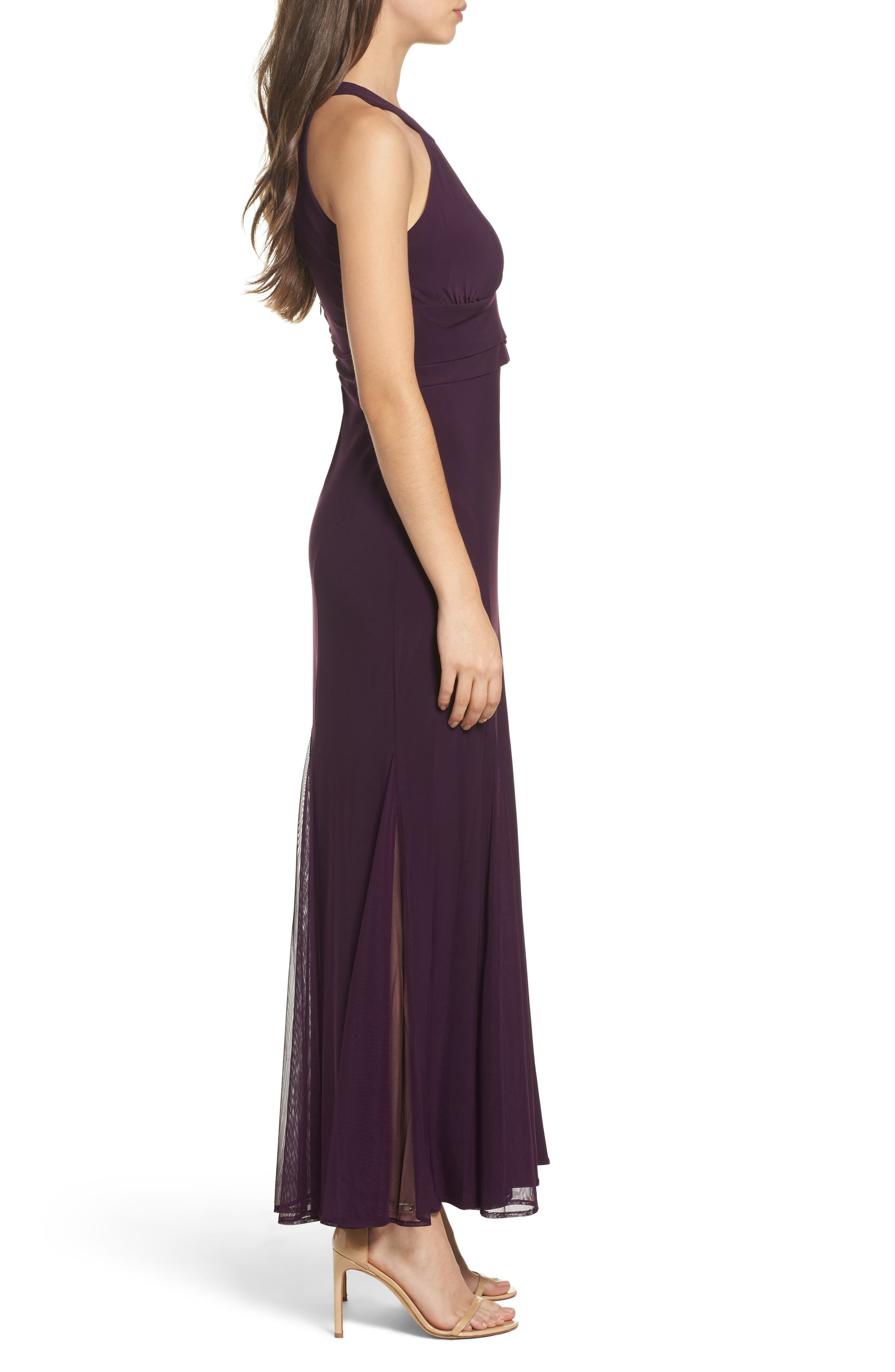 Mesh Insert Halter Neck Mermaid Dress,                             Alternate thumbnail 3, color,                             Plum