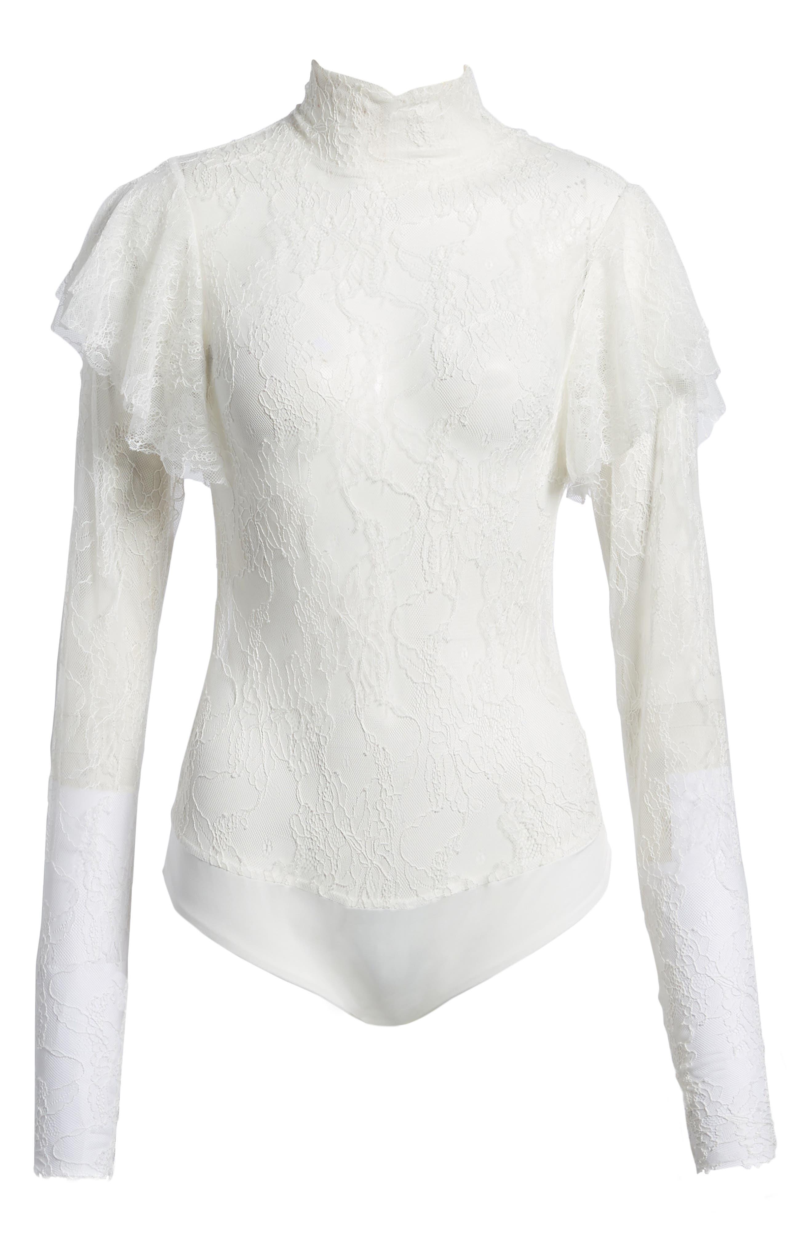Esme Ruffle Lace Bodysuit,                             Alternate thumbnail 6, color,                             Blanc