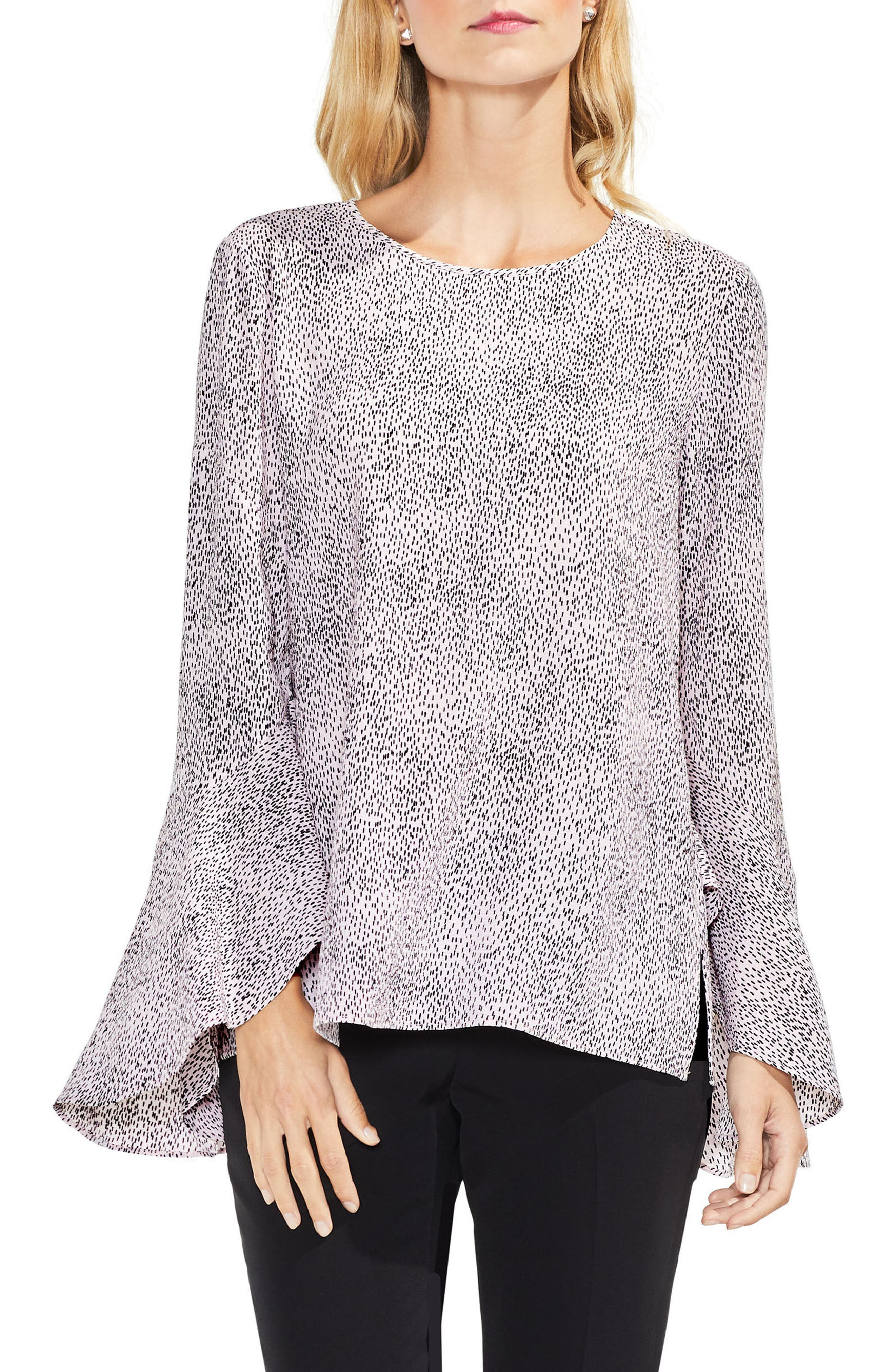 Bell Sleeve Dashes Top,                         Main,                         color, Opal Rose