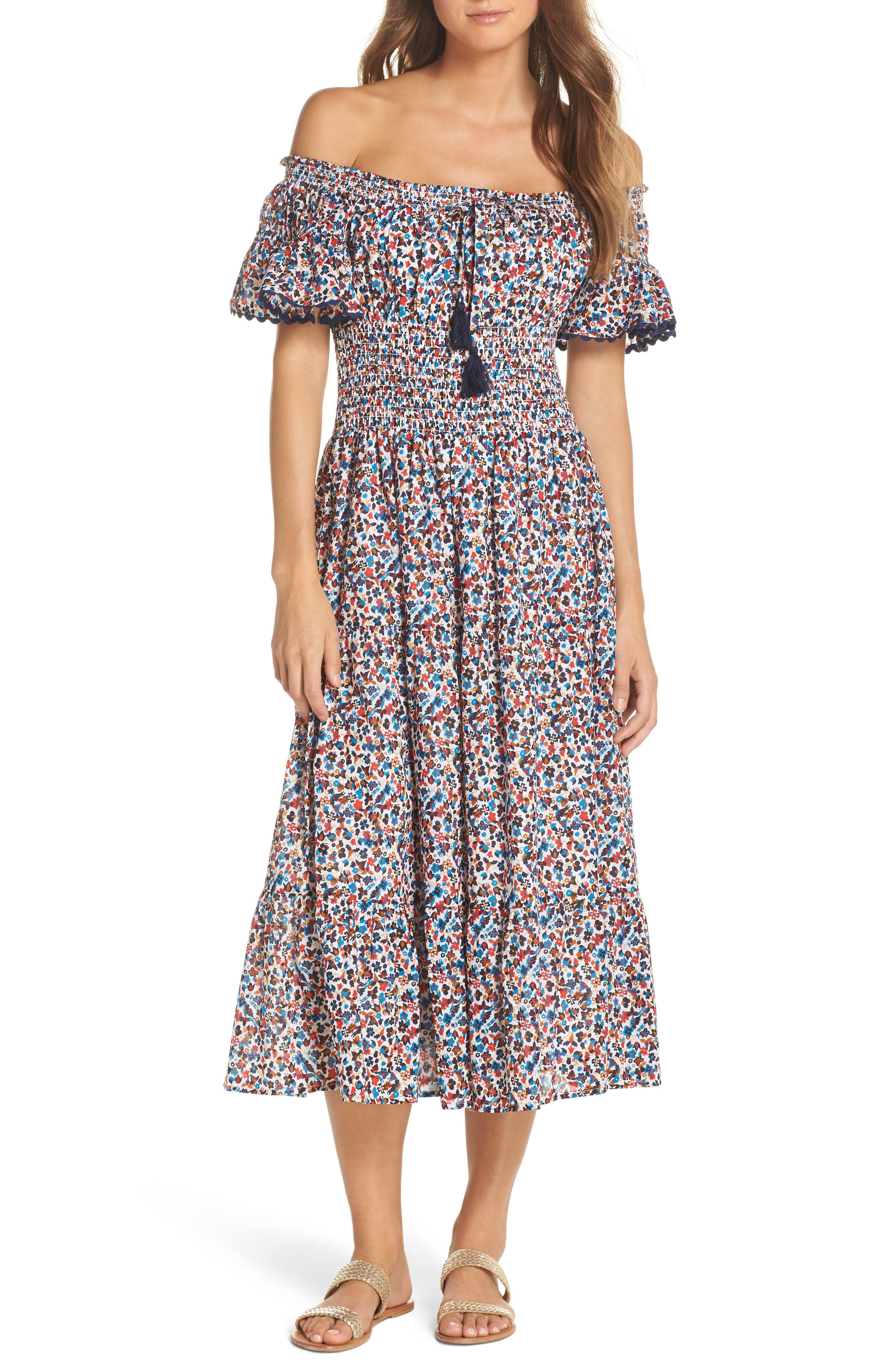 Wildflower Cover-Up Midi Dress,                             Main thumbnail 1, color,                             Mini Wildflower