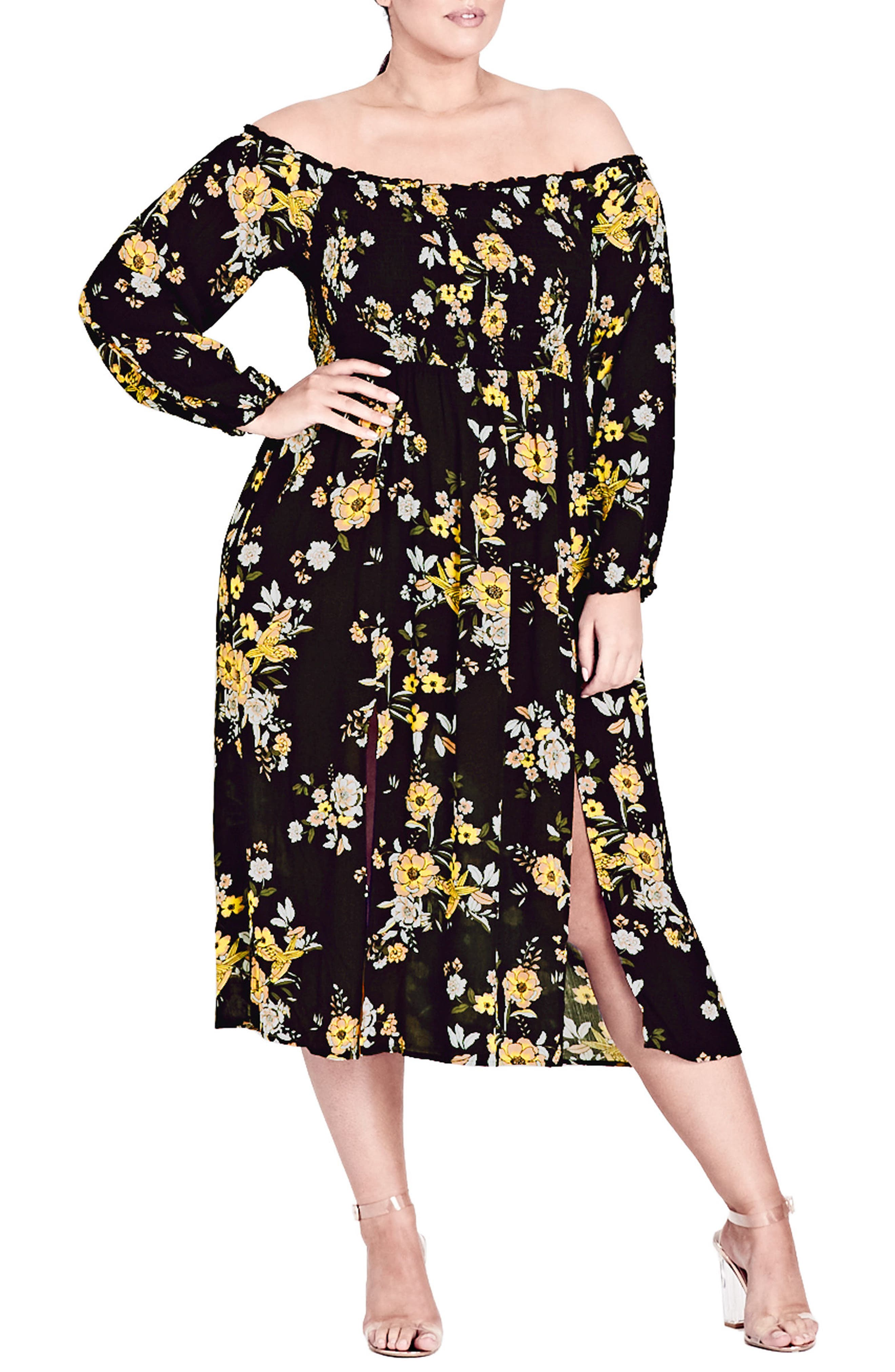 Miss Chirpy Off the Shoulder Dress,                             Main thumbnail 1, color,                             Miss Chirpy
