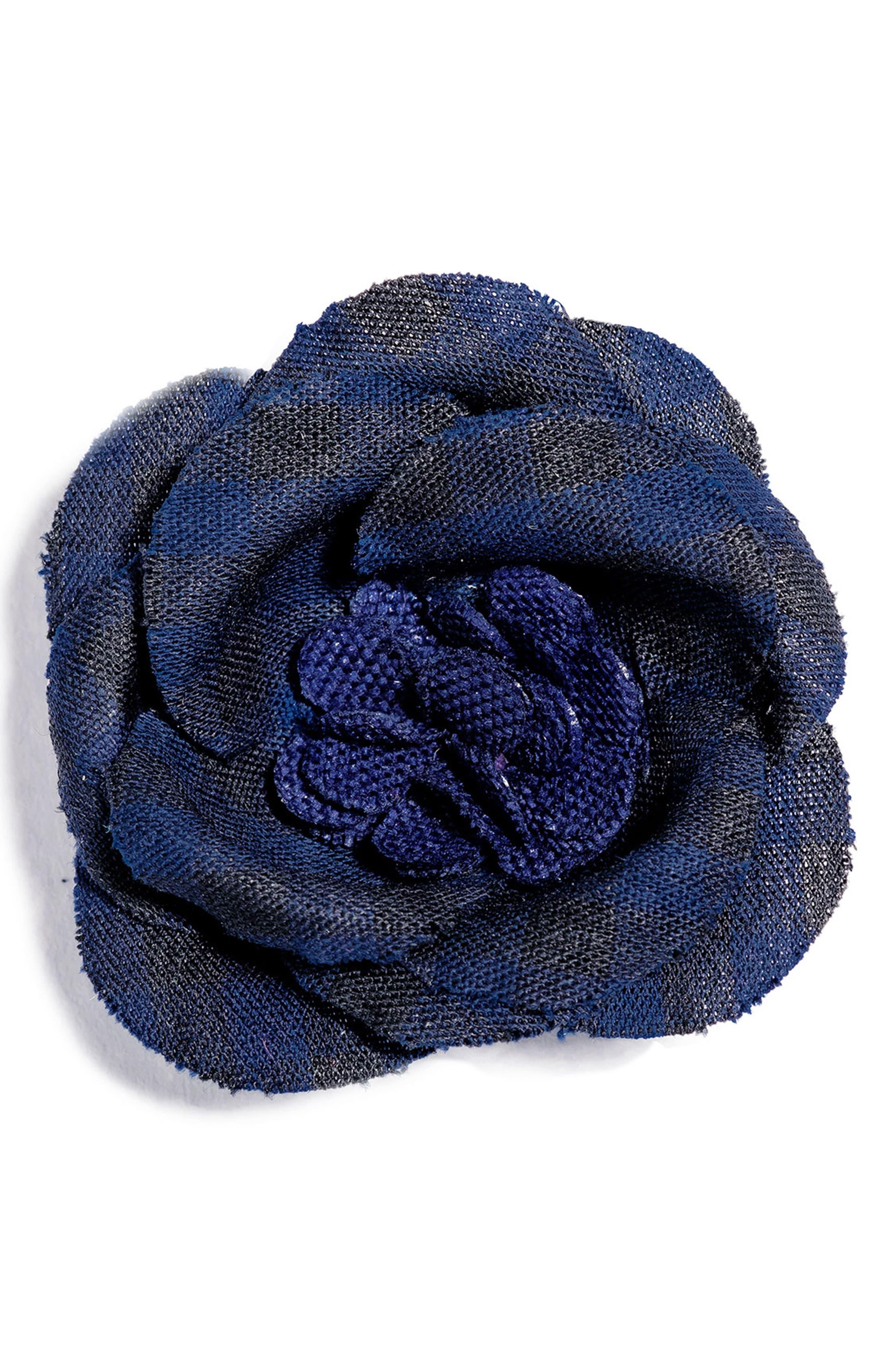 Poplin Check Lapel Flower,                         Main,                         color, Navy