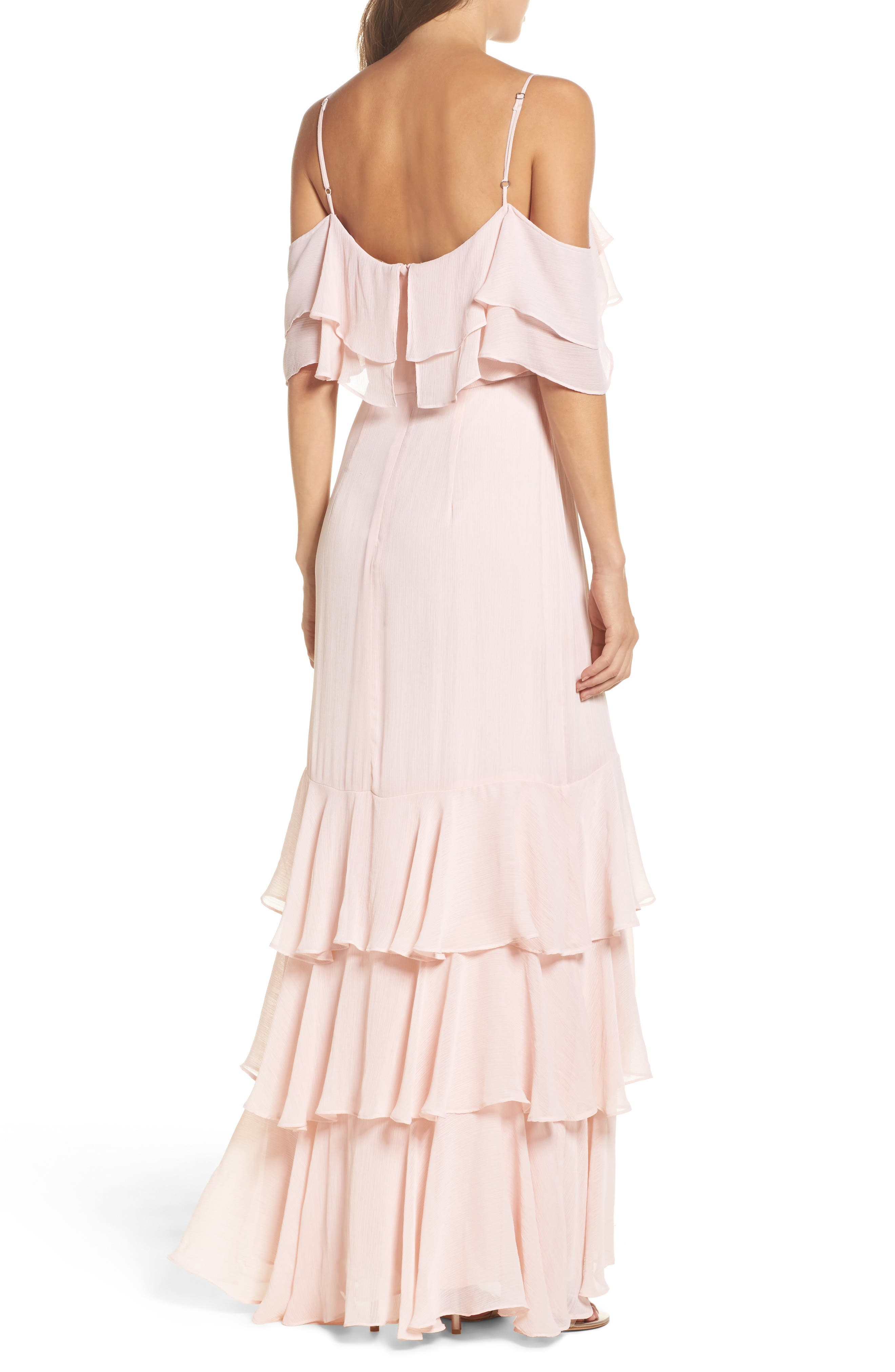 Lauren Cold Shoulder Tiered Gown,                             Alternate thumbnail 2, color,                             Sandalwood