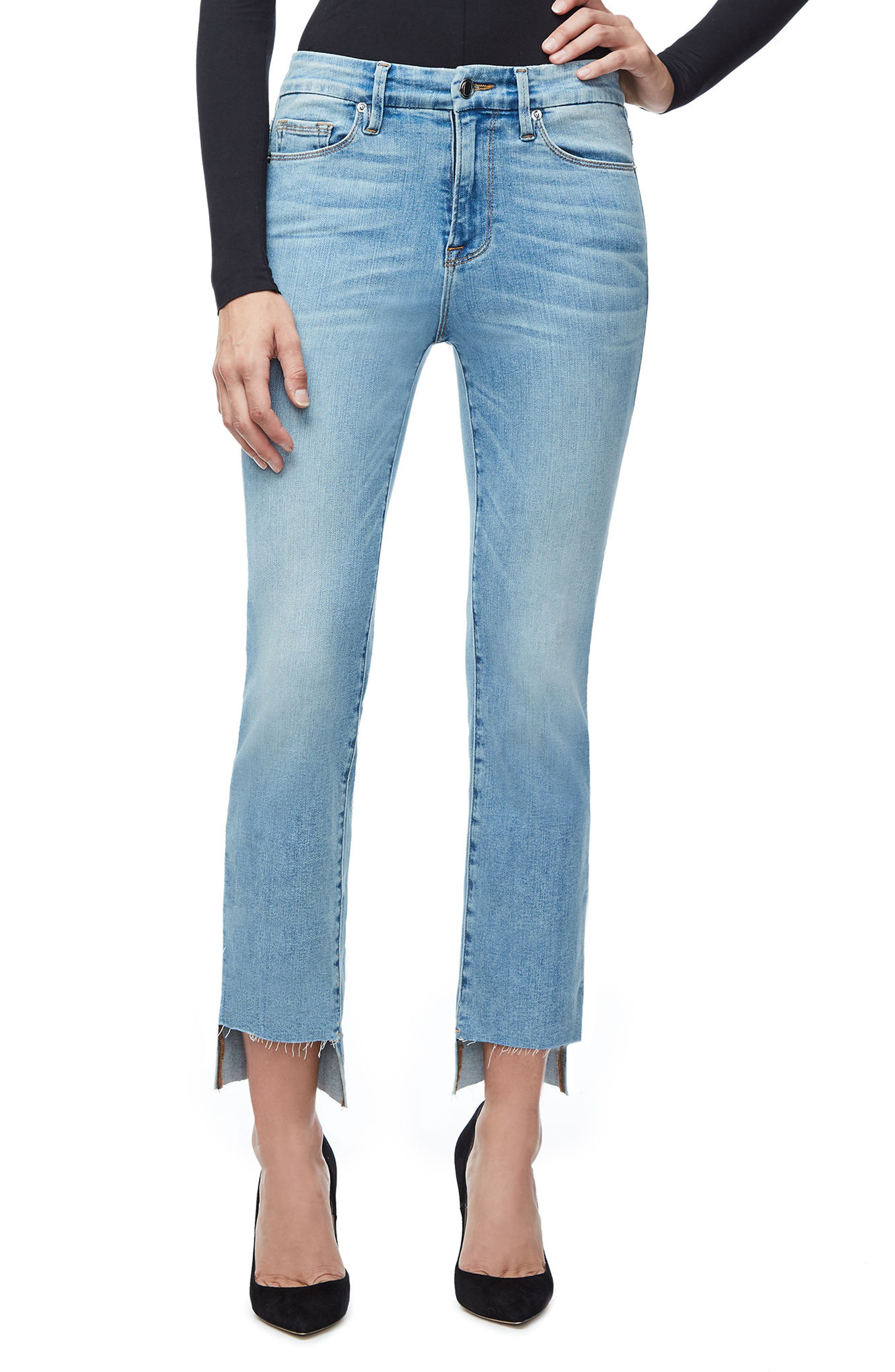 Good American Good Legs High Waist Ankle Skinny Jeans (Blue 007) (Extended Sizes)