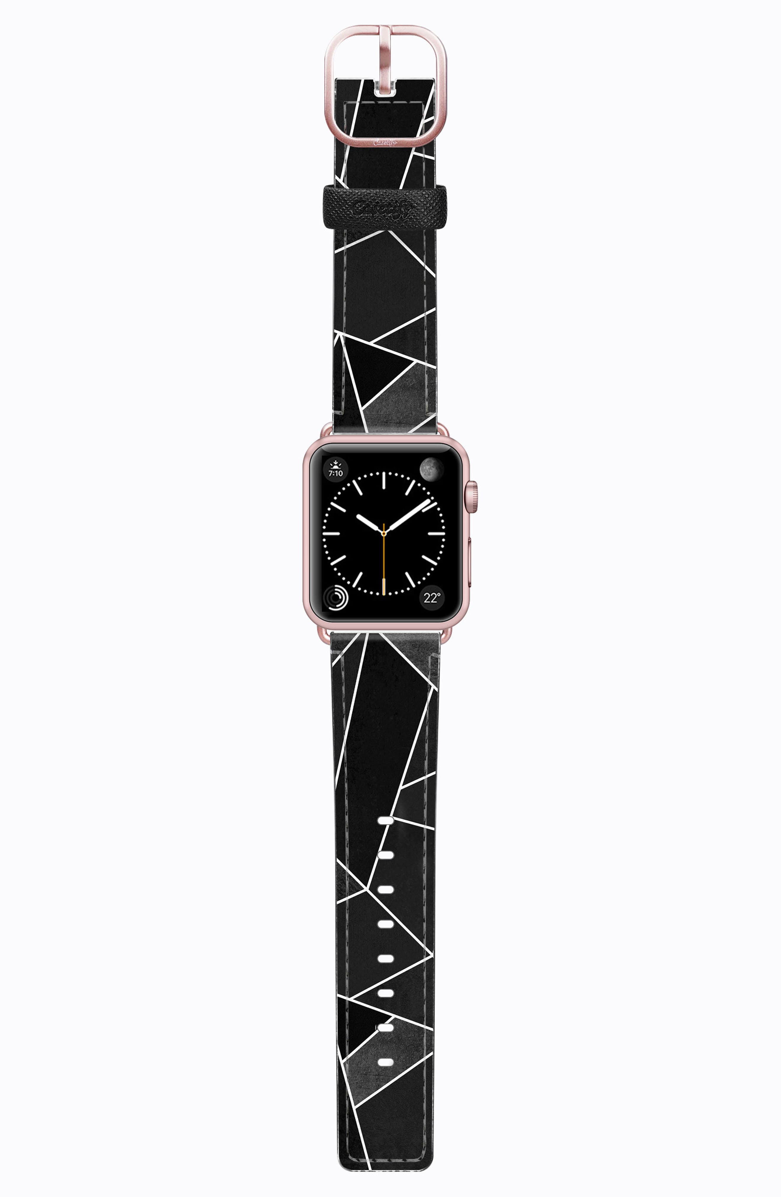 Saffiano Faux Leather Apple Watch Strap,                             Main thumbnail 1, color,                             Black Geometric
