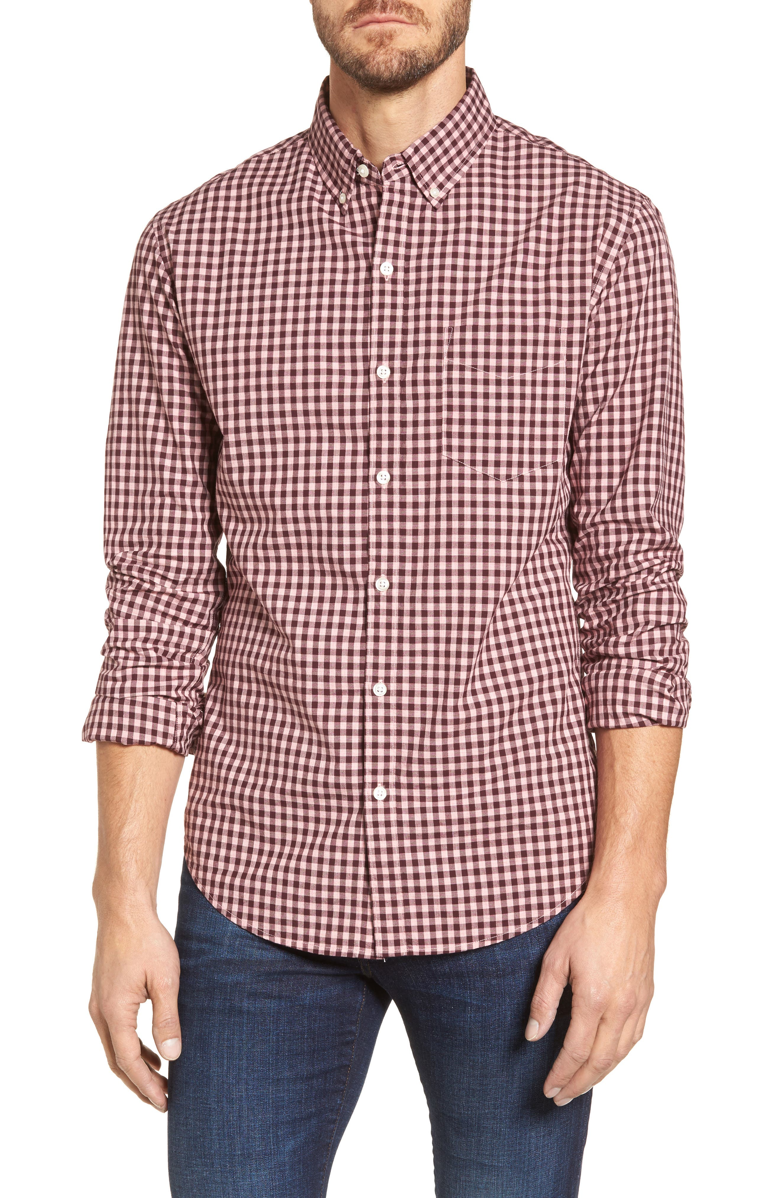 Slim Fit Washed Ombré Check Sport Shirt,                         Main,                         color, Heather Pink Gingham