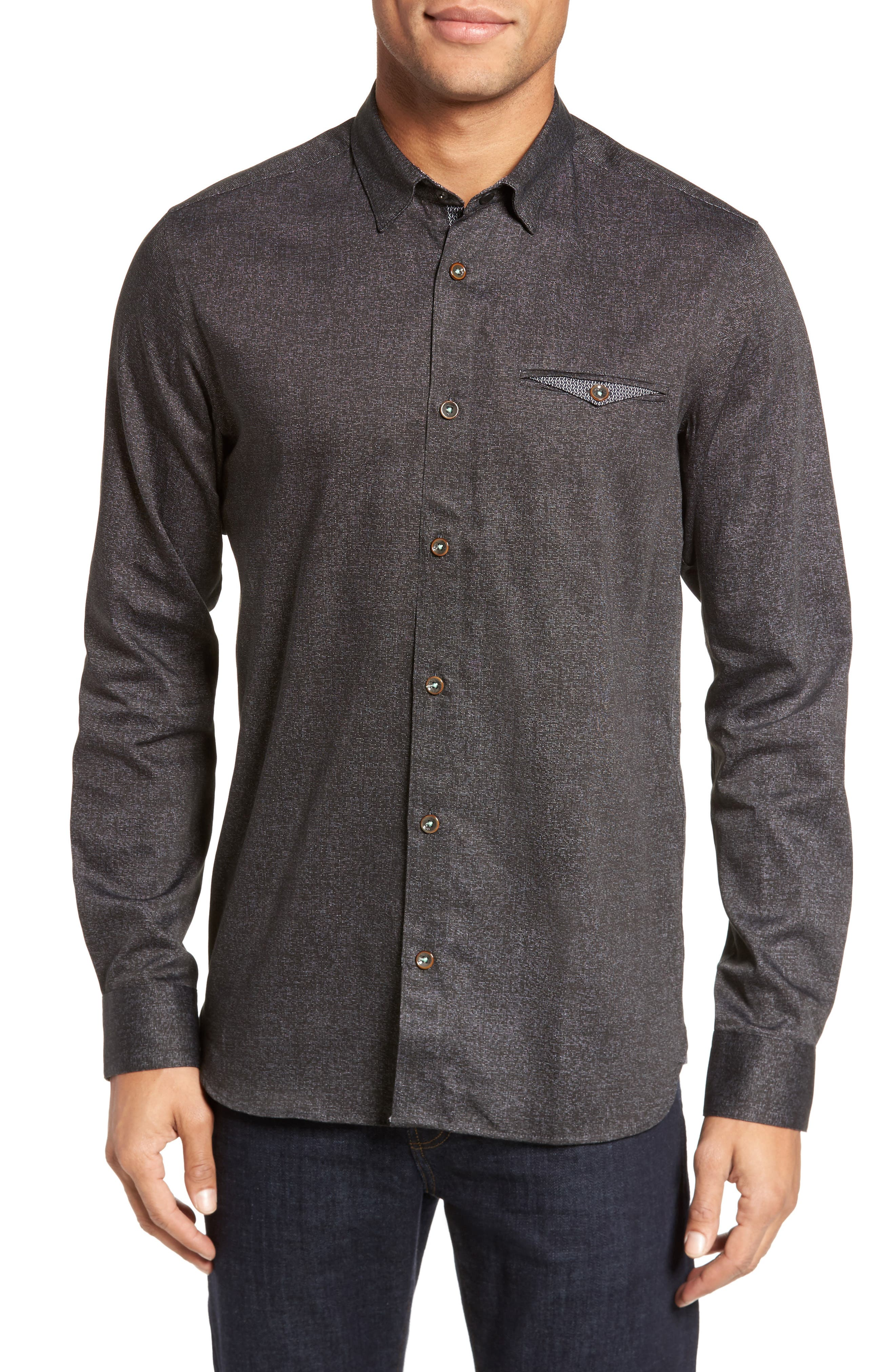Alternate Image 1 Selected - Ted Baker London Norbor Modern Slim Fit Microdot Print Sport Shirt