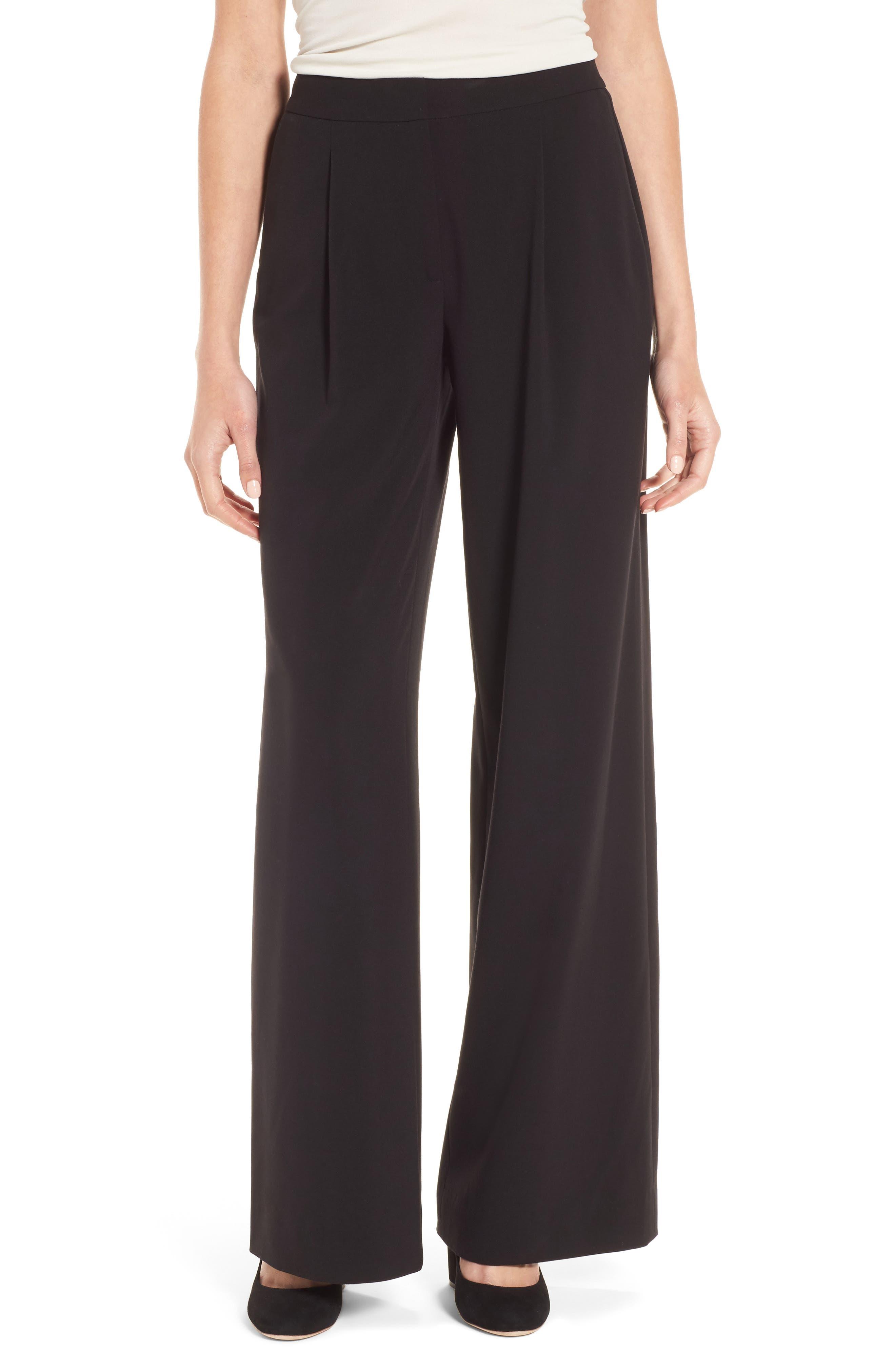 Notch Back Wide Leg Pants,                         Main,                         color, Black