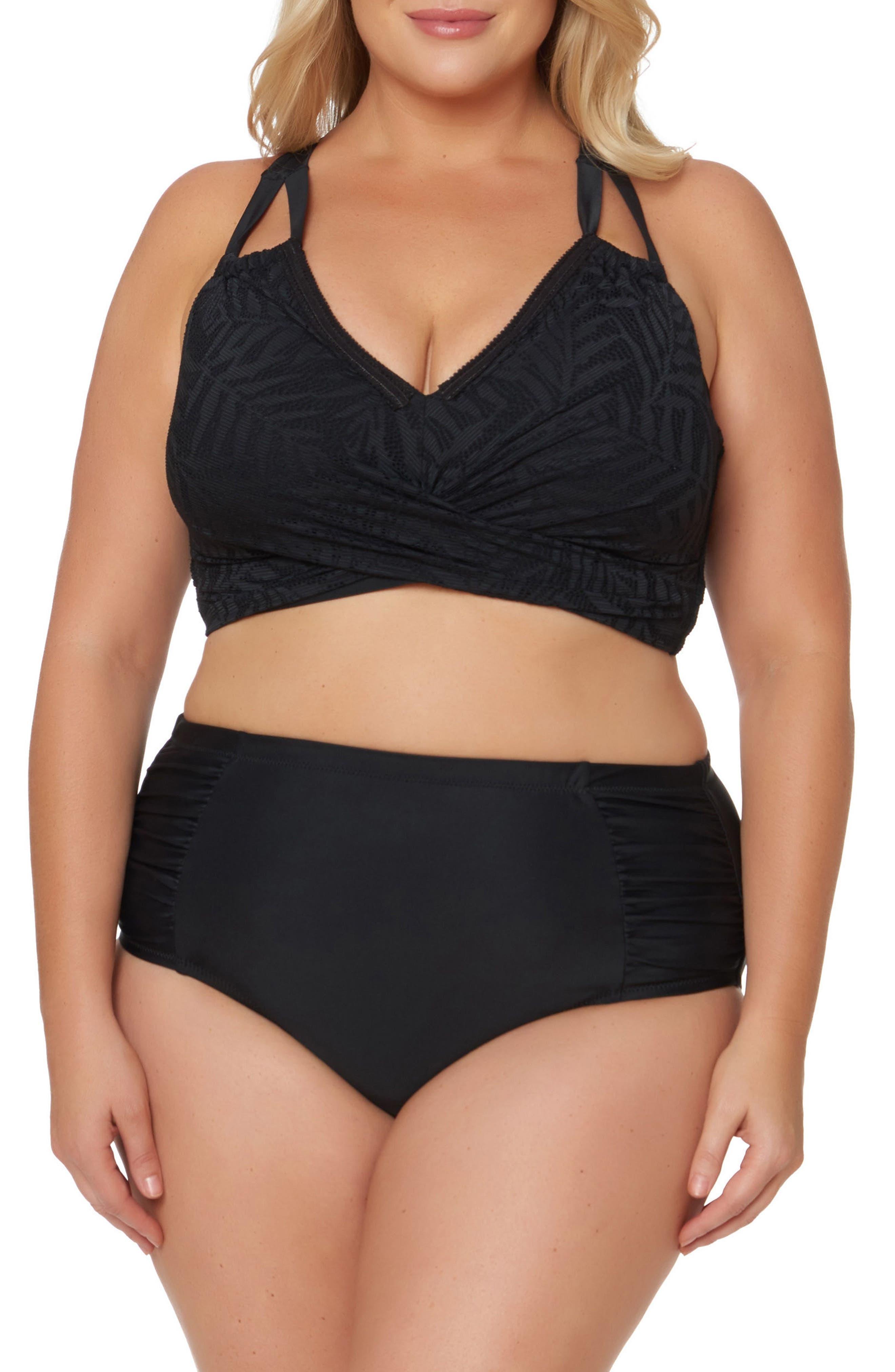 Double Strap Bikini Top,                             Alternate thumbnail 3, color,                             Black