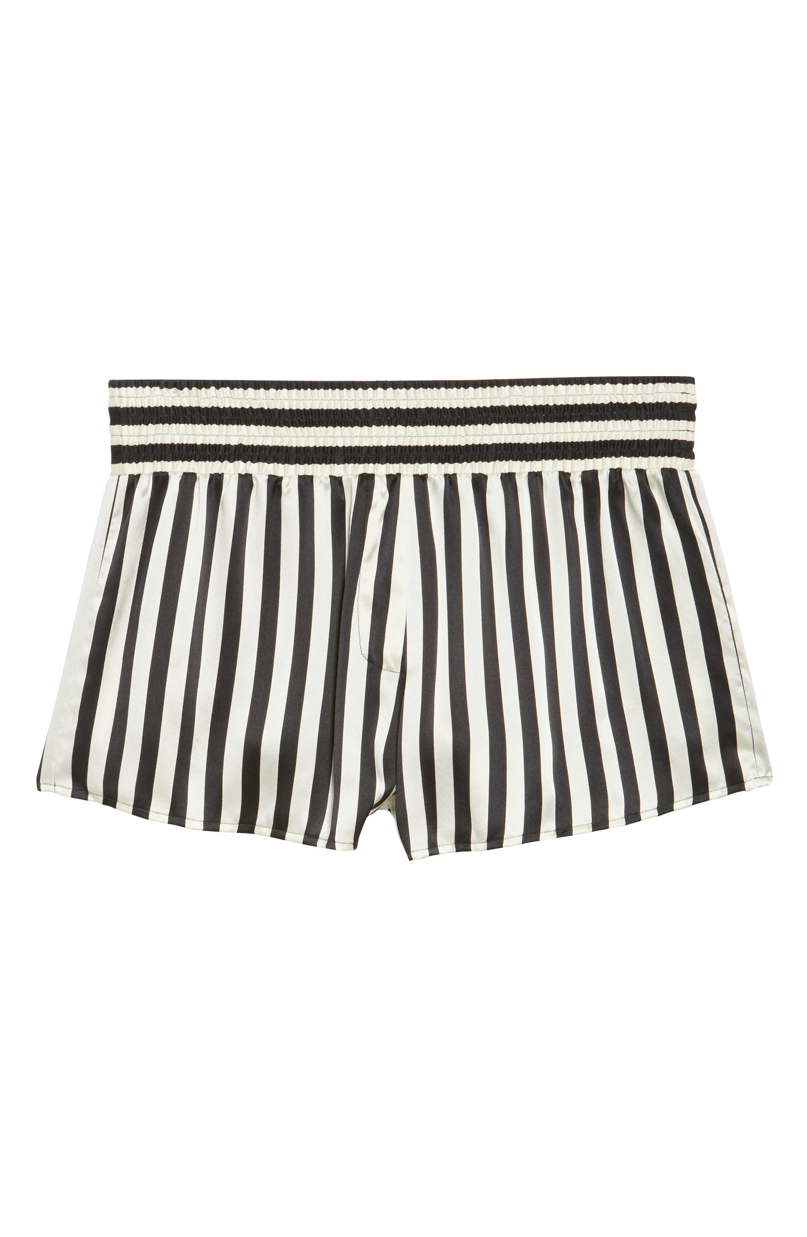 x Amanda Fatherazi Mini Mask Corey Stripe Silk Shorts,                             Alternate thumbnail 4, color,                             Noir/ Ecru