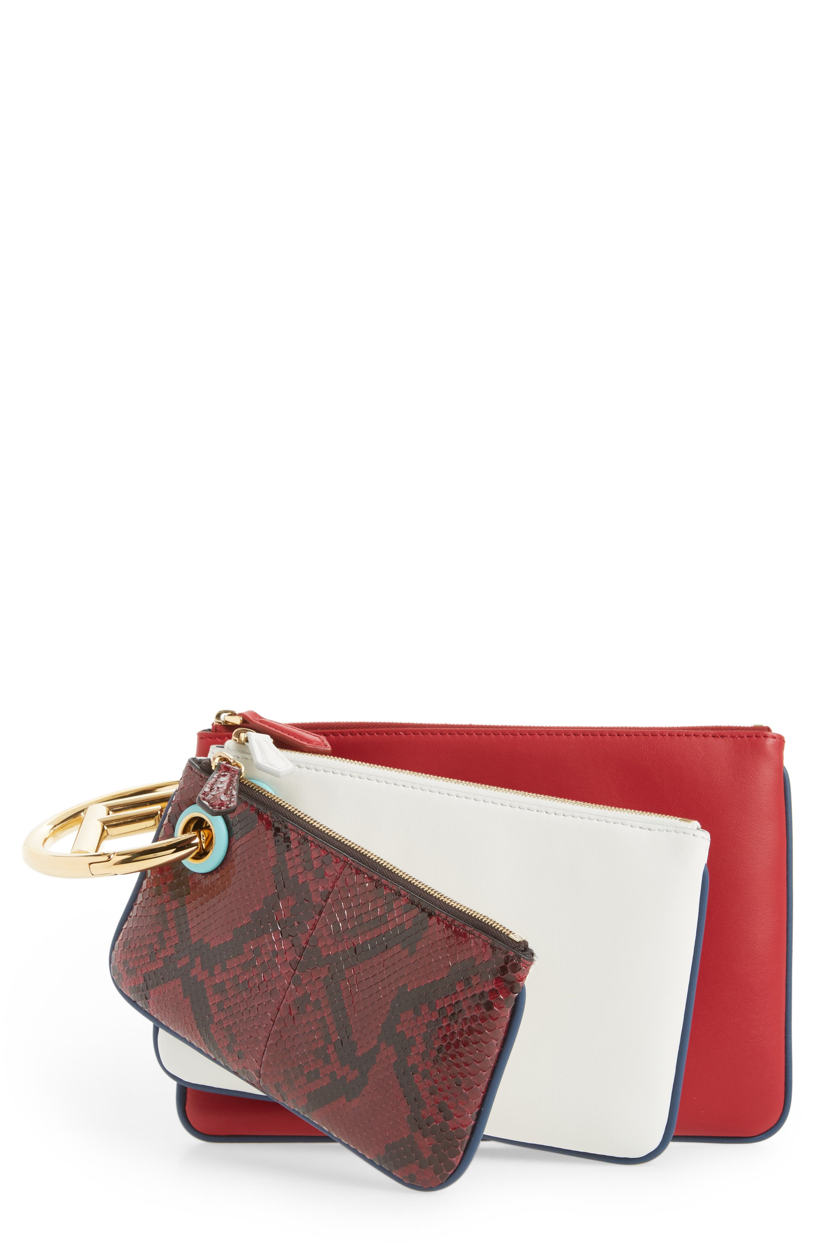Set of Three Calfskin Leather & Genuine Python Pouches,                         Main,                         color, Red/ White/ Python