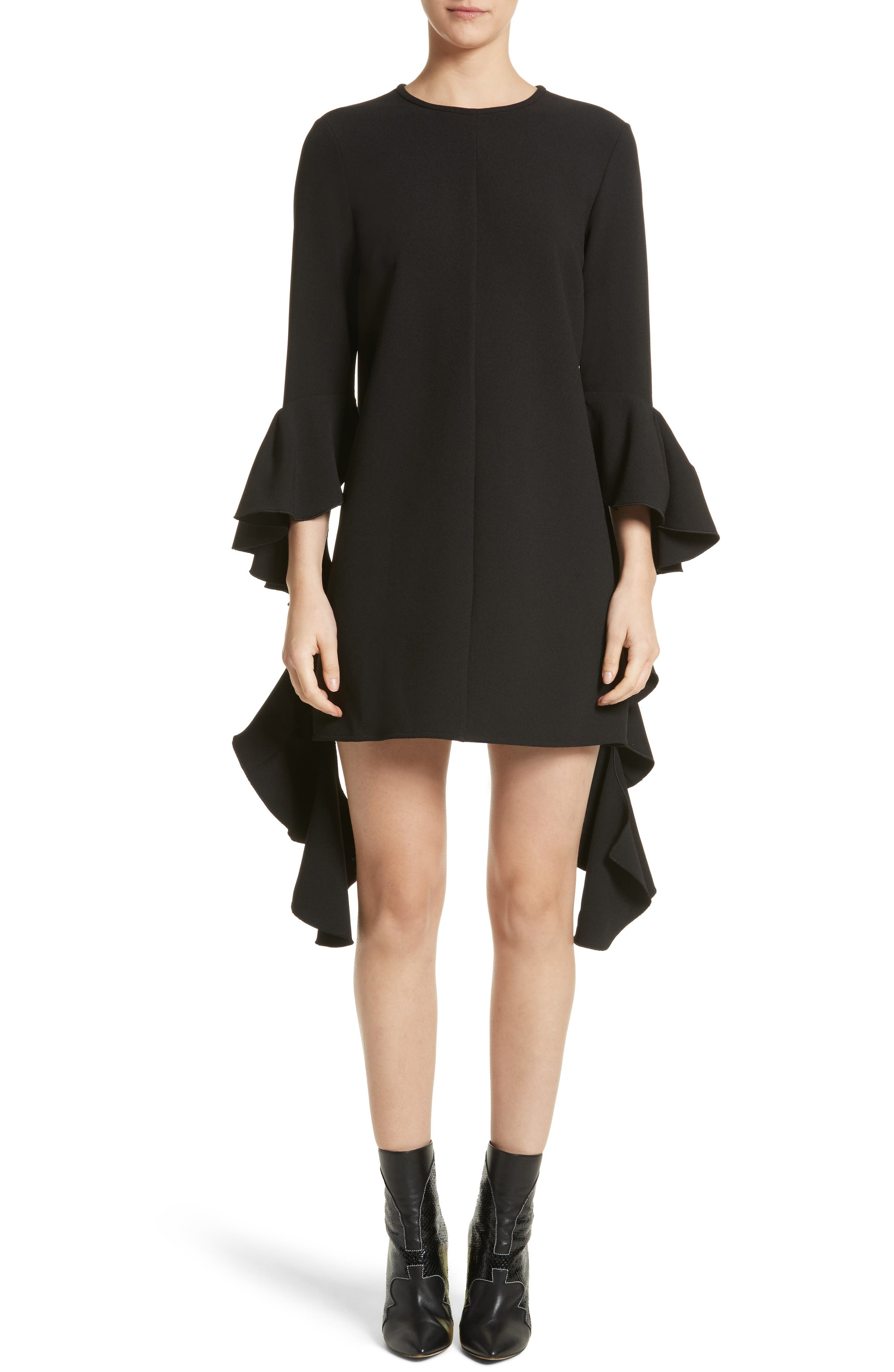 Kilkenny Frill Sleeve Minidress,                             Main thumbnail 1, color,                             Black