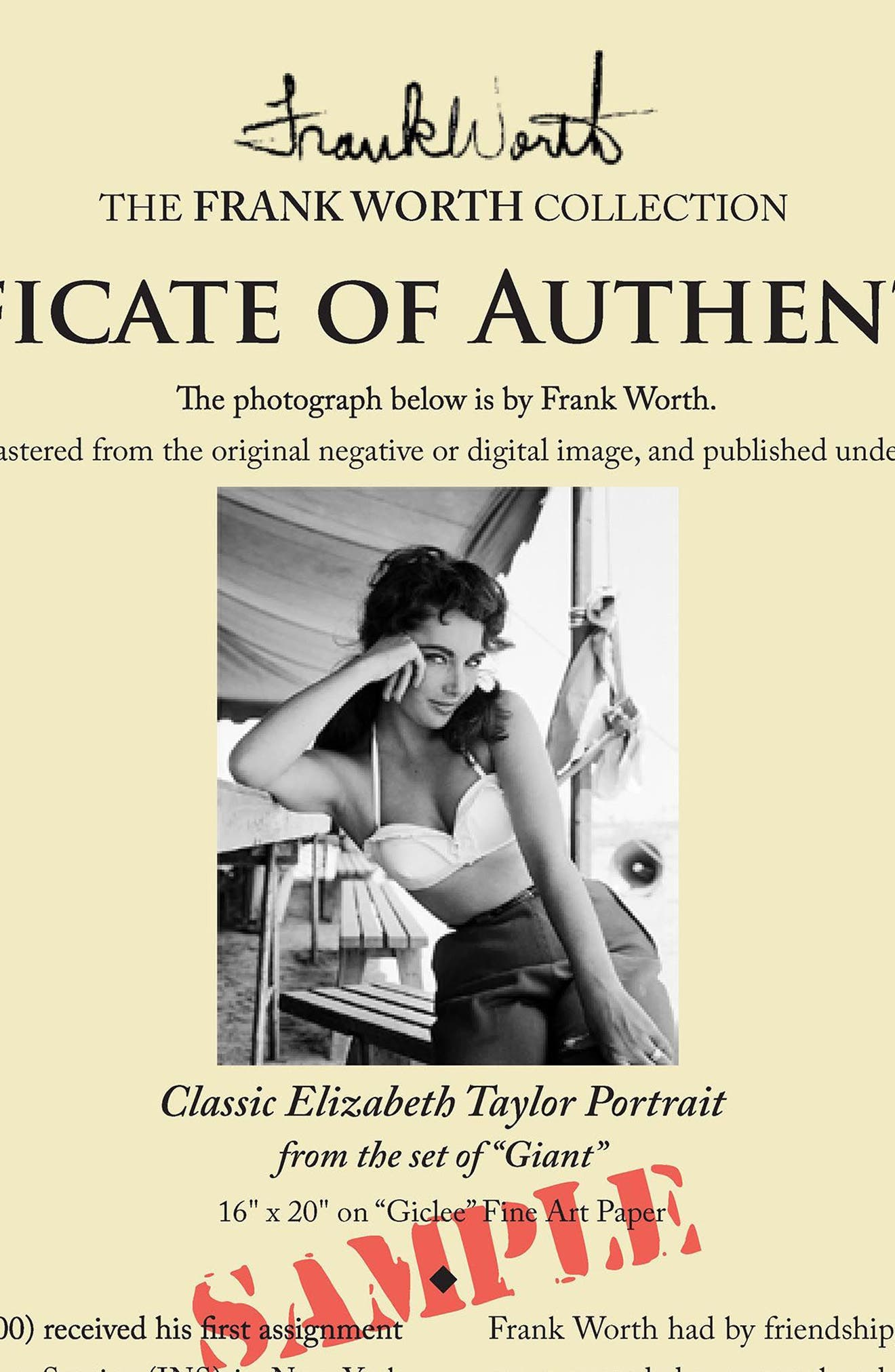 Elizabeth Taylor Fine Art Print,                             Alternate thumbnail 4, color,                             Black