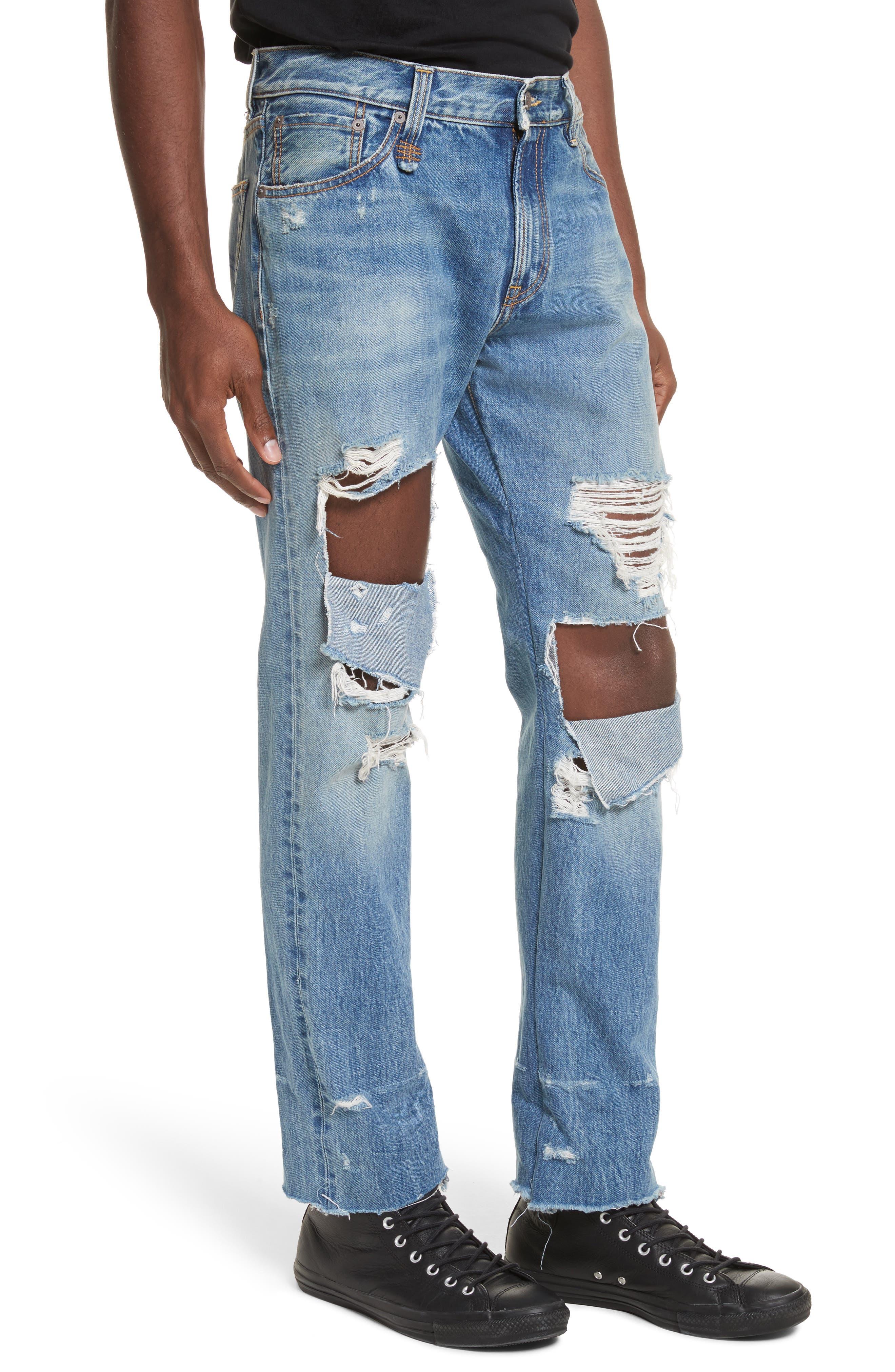 Sid Distressed Cutoff Straight Leg Jeans,                             Alternate thumbnail 4, color,                             Jasper Selvege W Rips