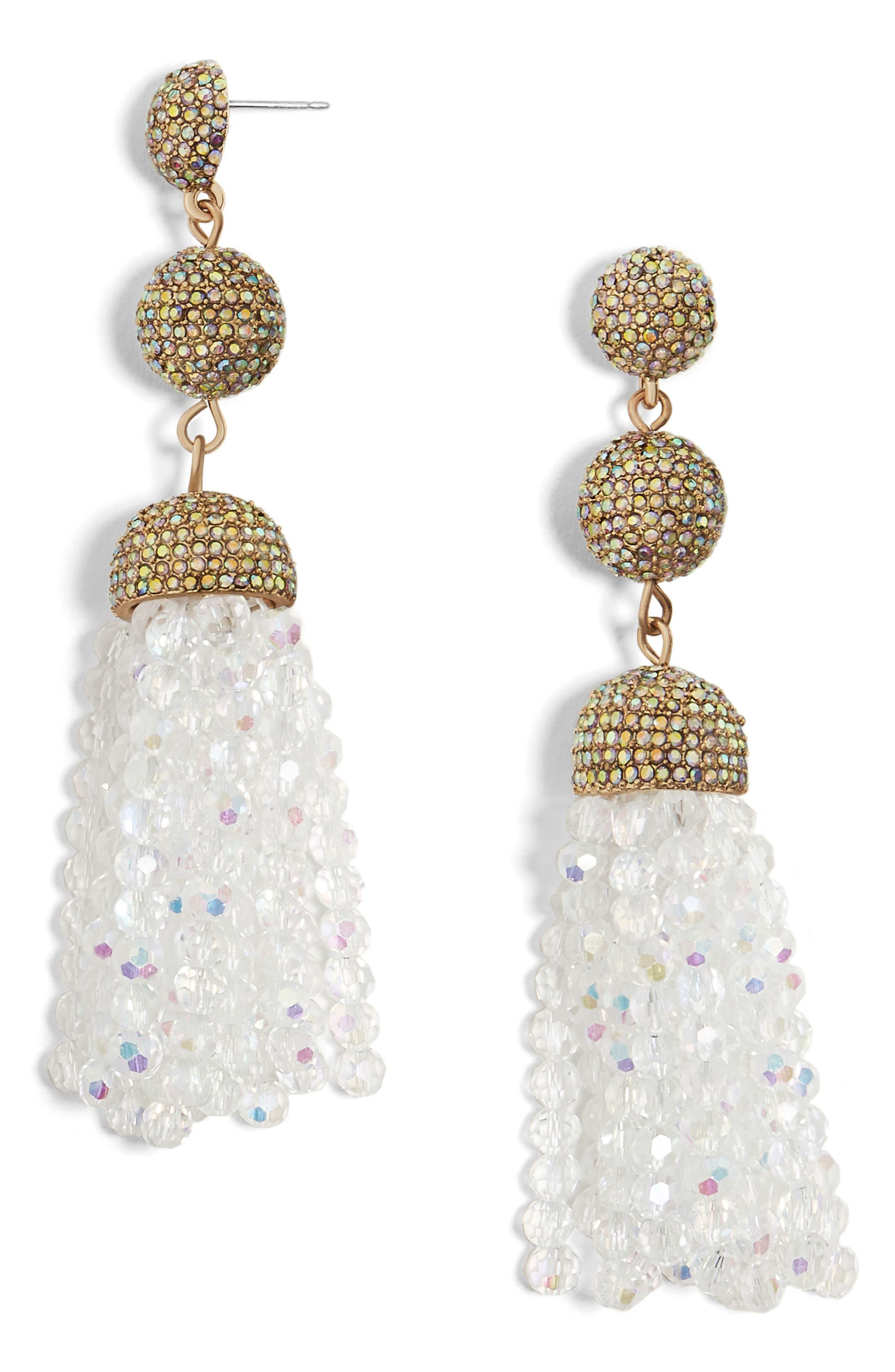 Tinsley Beaded Tassel Drop Earrings,                             Main thumbnail 1, color,                             White