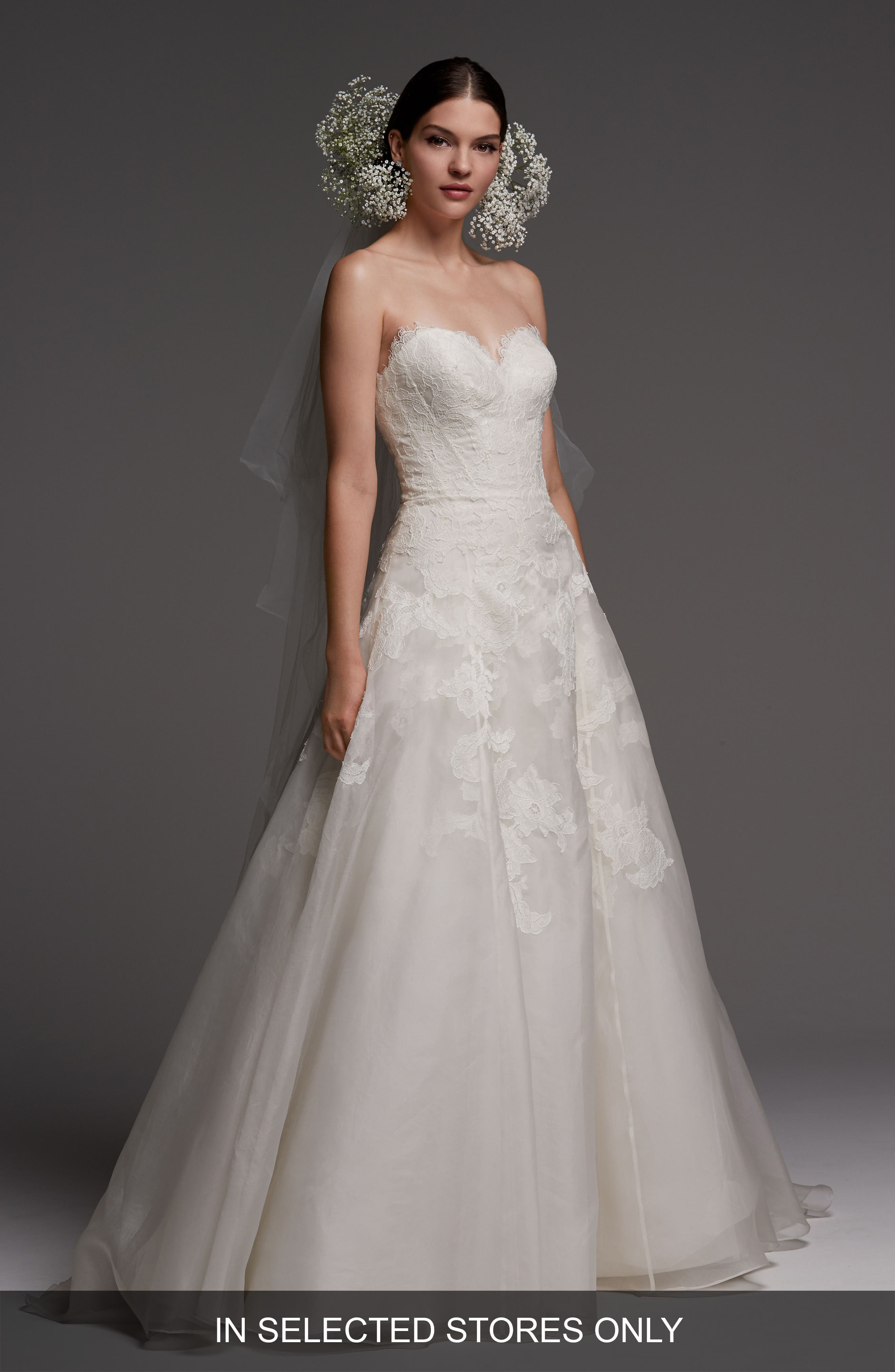 Luxembourg Strapless Lace & Organza Ballgown,                             Main thumbnail 1, color,                             Ivory
