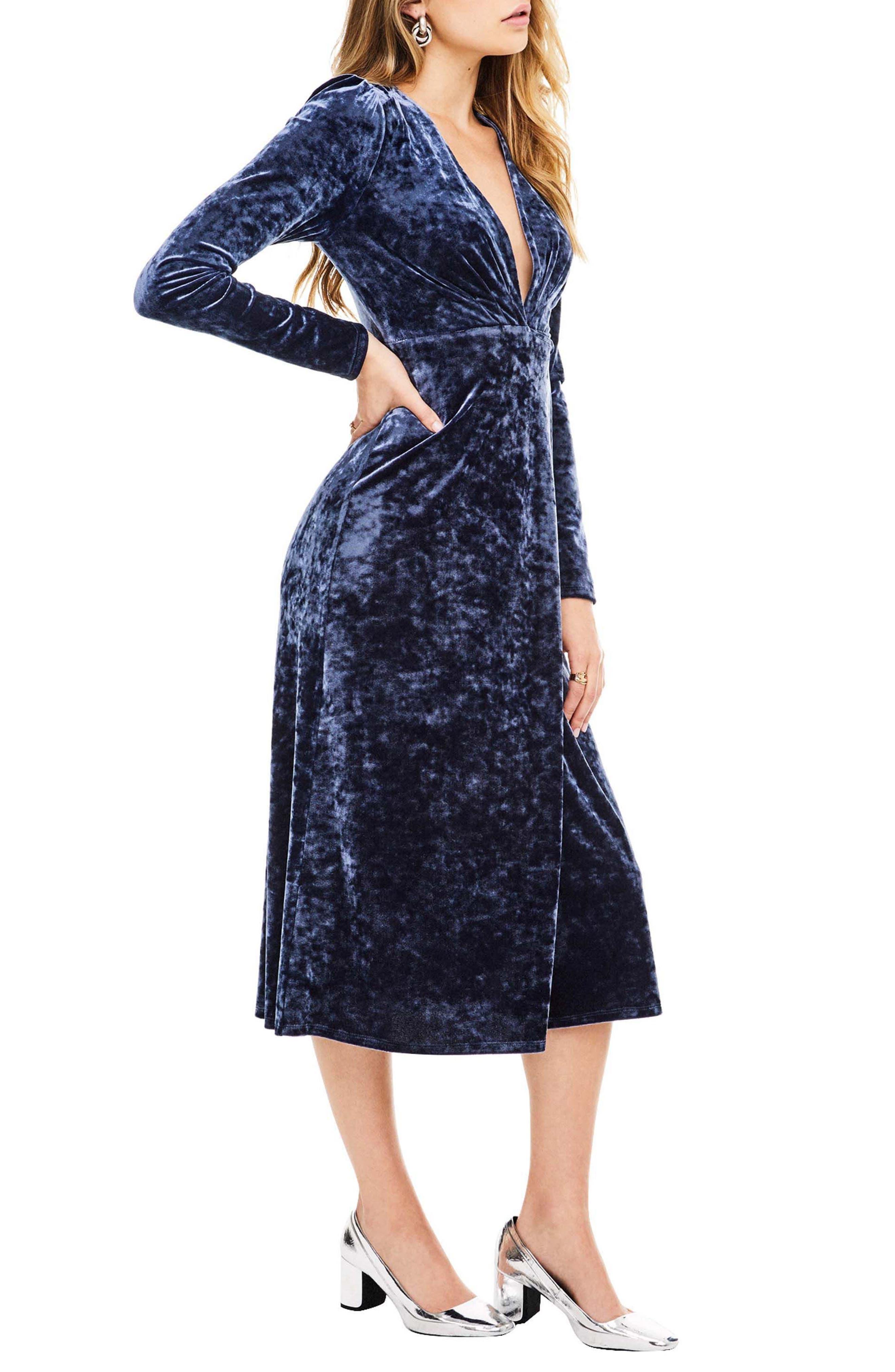 Georgette Wrap Dress,                             Alternate thumbnail 3, color,                             Sapphire