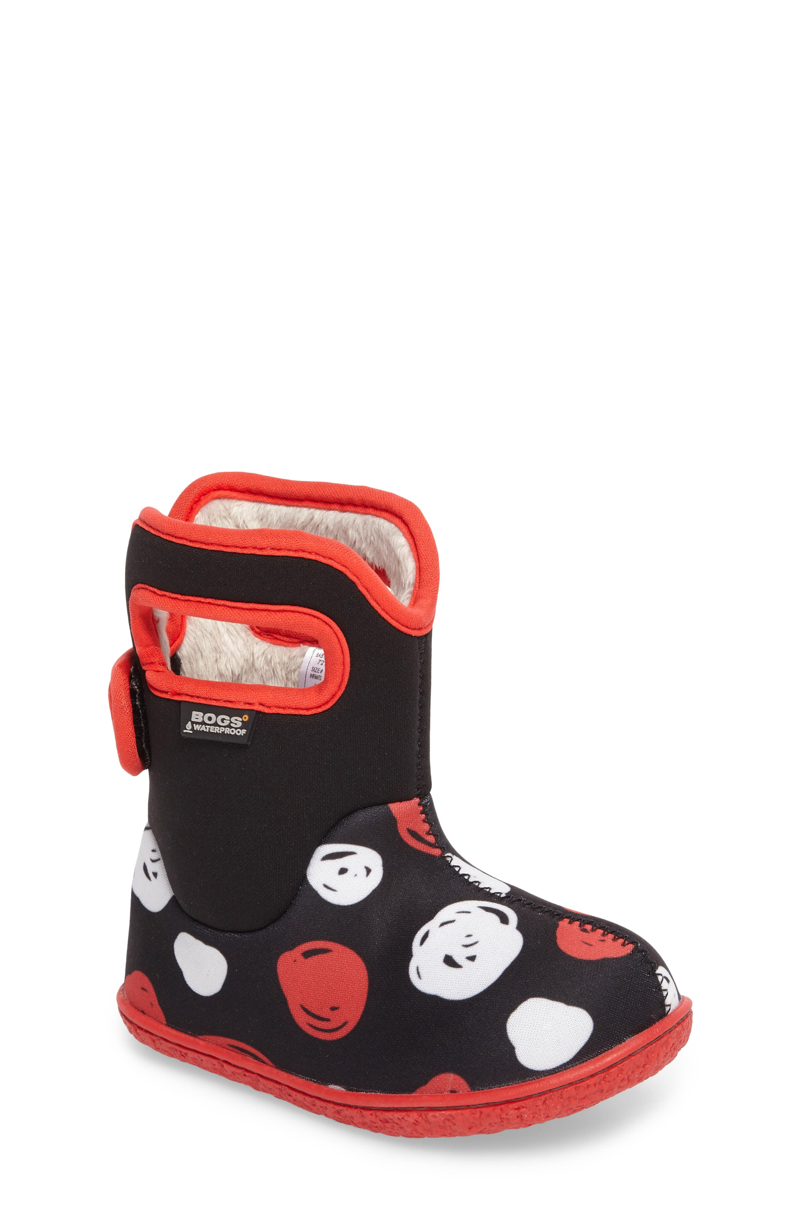 Baby Bogs Classic Sketched Dots Washable Insulated Waterproof Boot,                             Main thumbnail 1, color,                             Black/ Red Multi