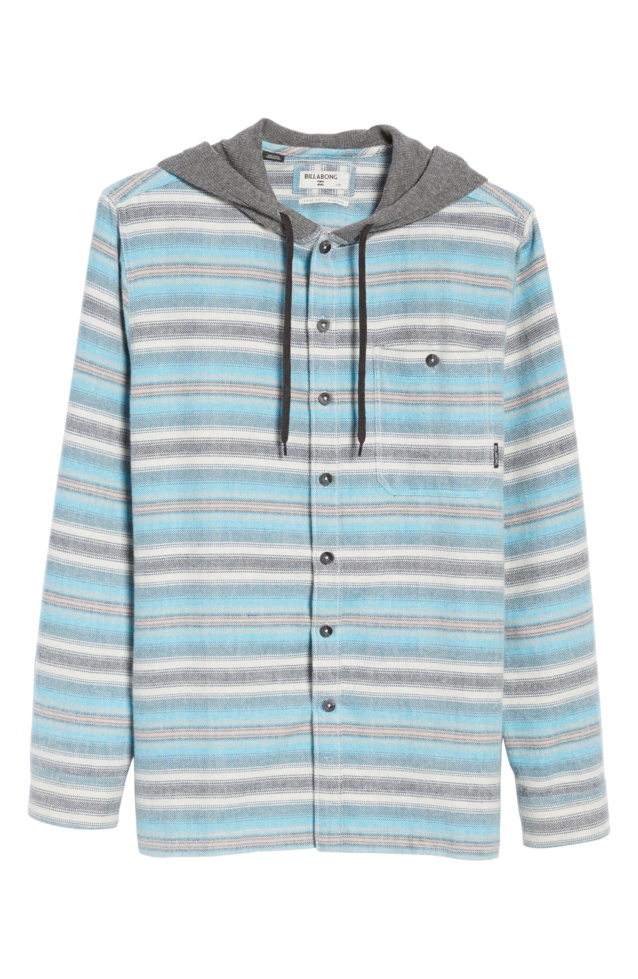 Baja Hooded Flannel Shirt,                             Alternate thumbnail 6, color,                             Stone