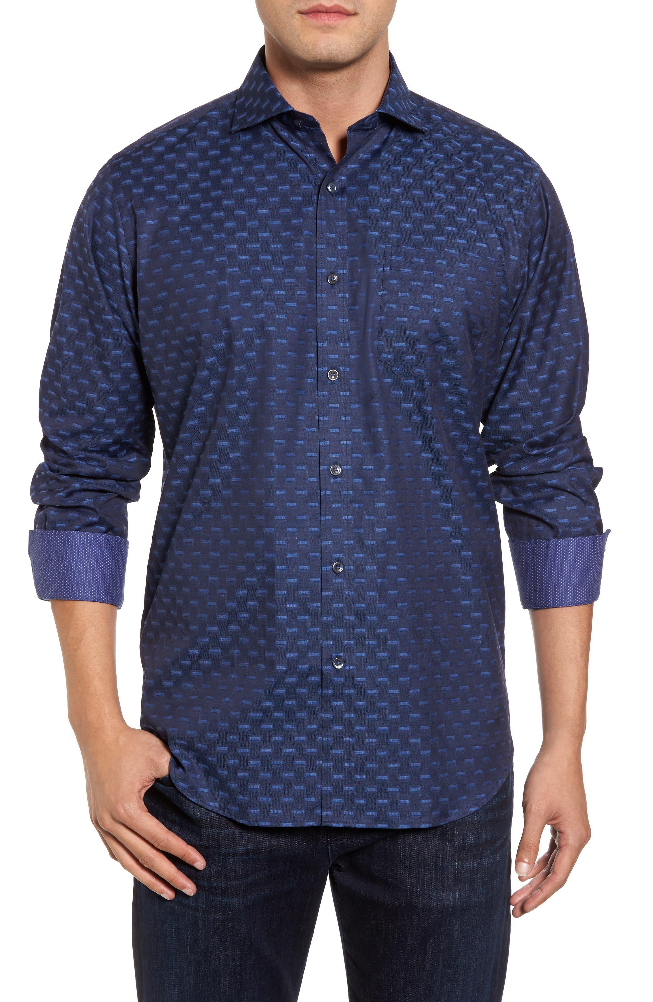 Classic Fit Jacquard Sport Shirt,                         Main,                         color, Midnight