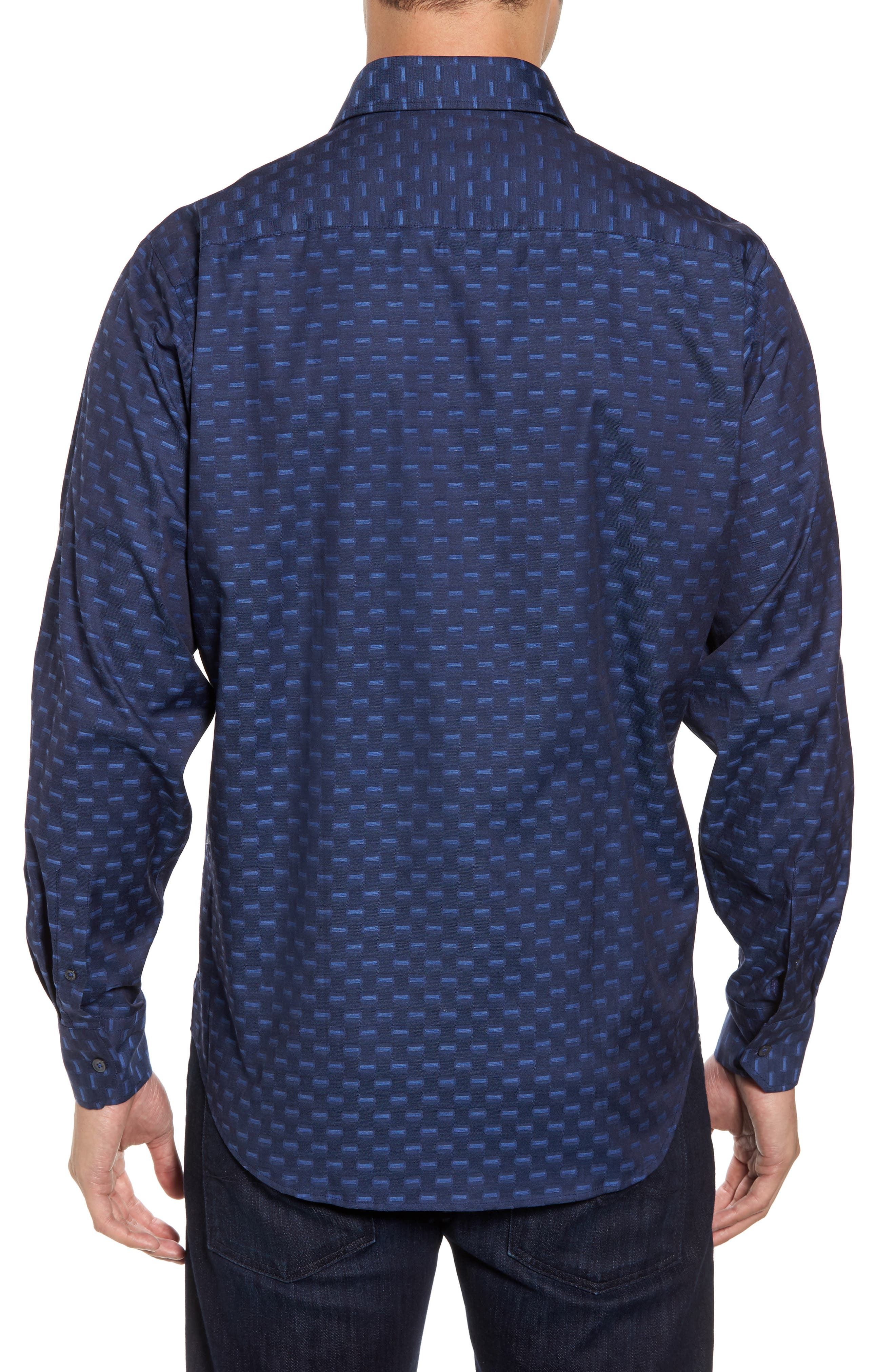Alternate Image 2  - Bugatchi Classic Fit Jacquard Sport Shirt