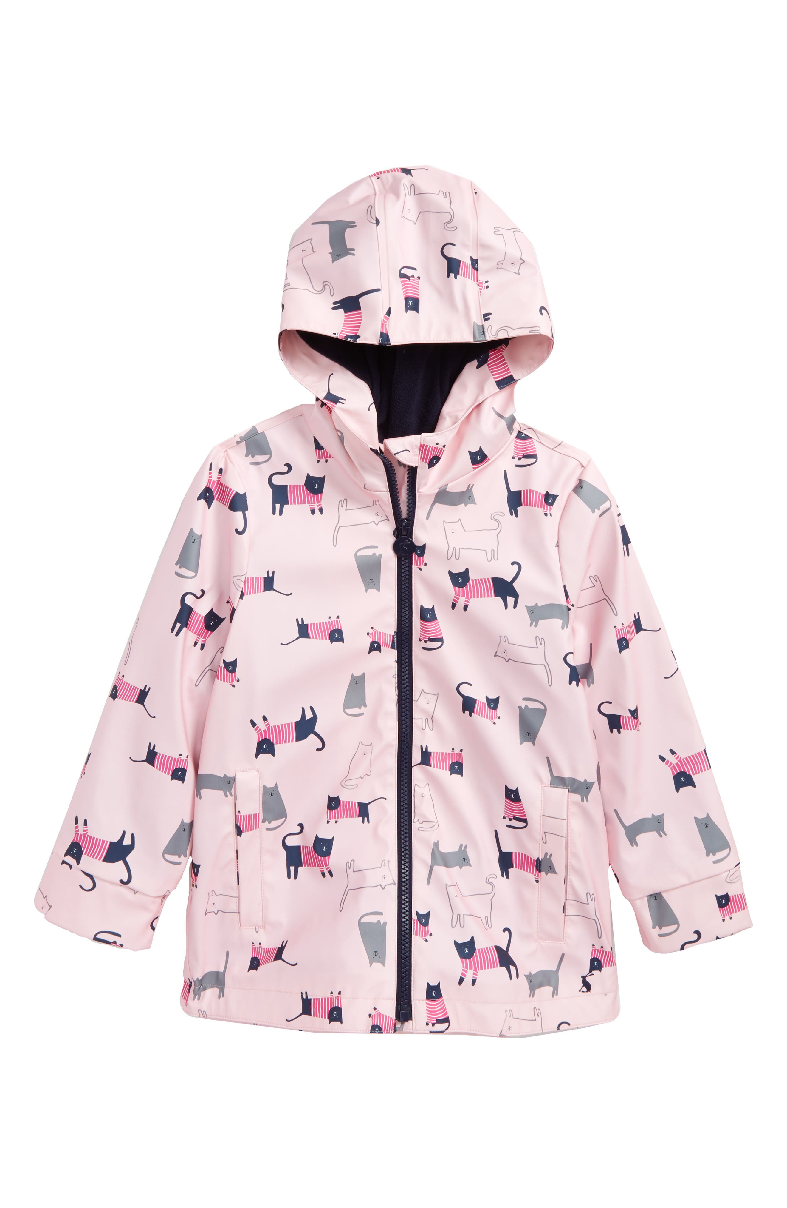 Fleece Lined Rain Jacket,                         Main,                         color, Rose Pink Cat