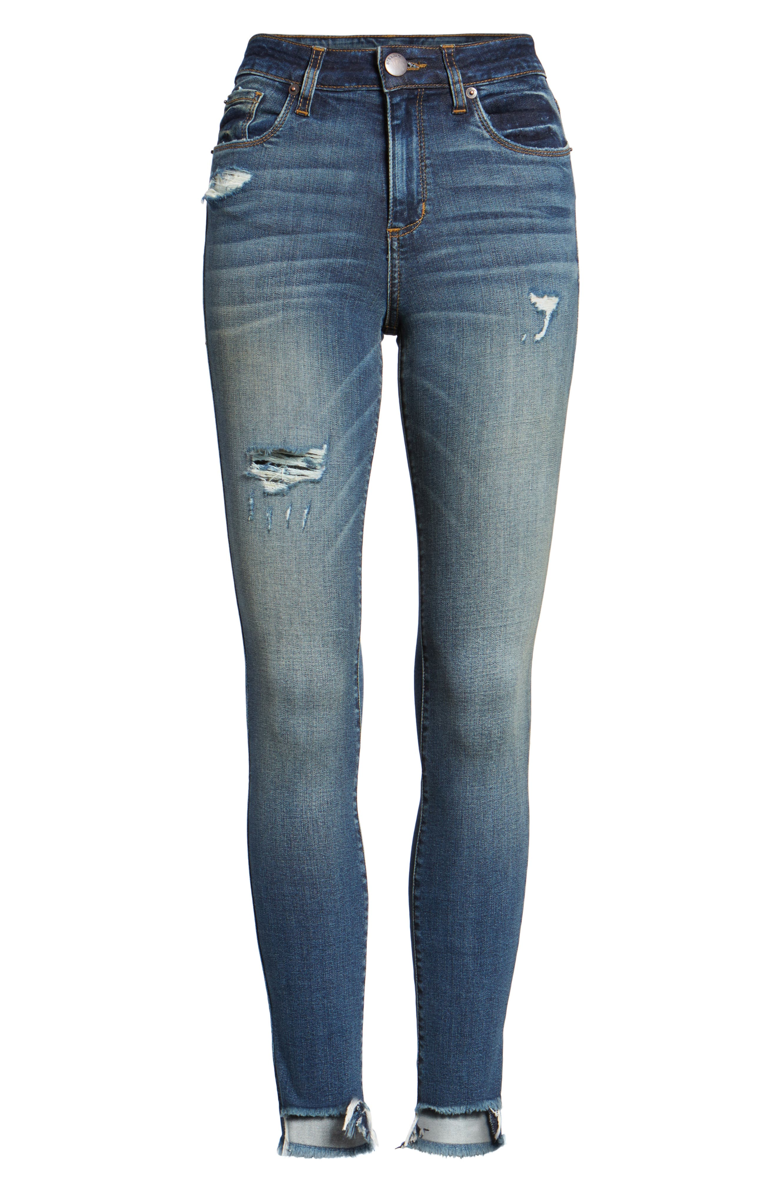 Elli Distressed Step Hem Skinny Jeans,                             Alternate thumbnail 6, color,                             Yukon