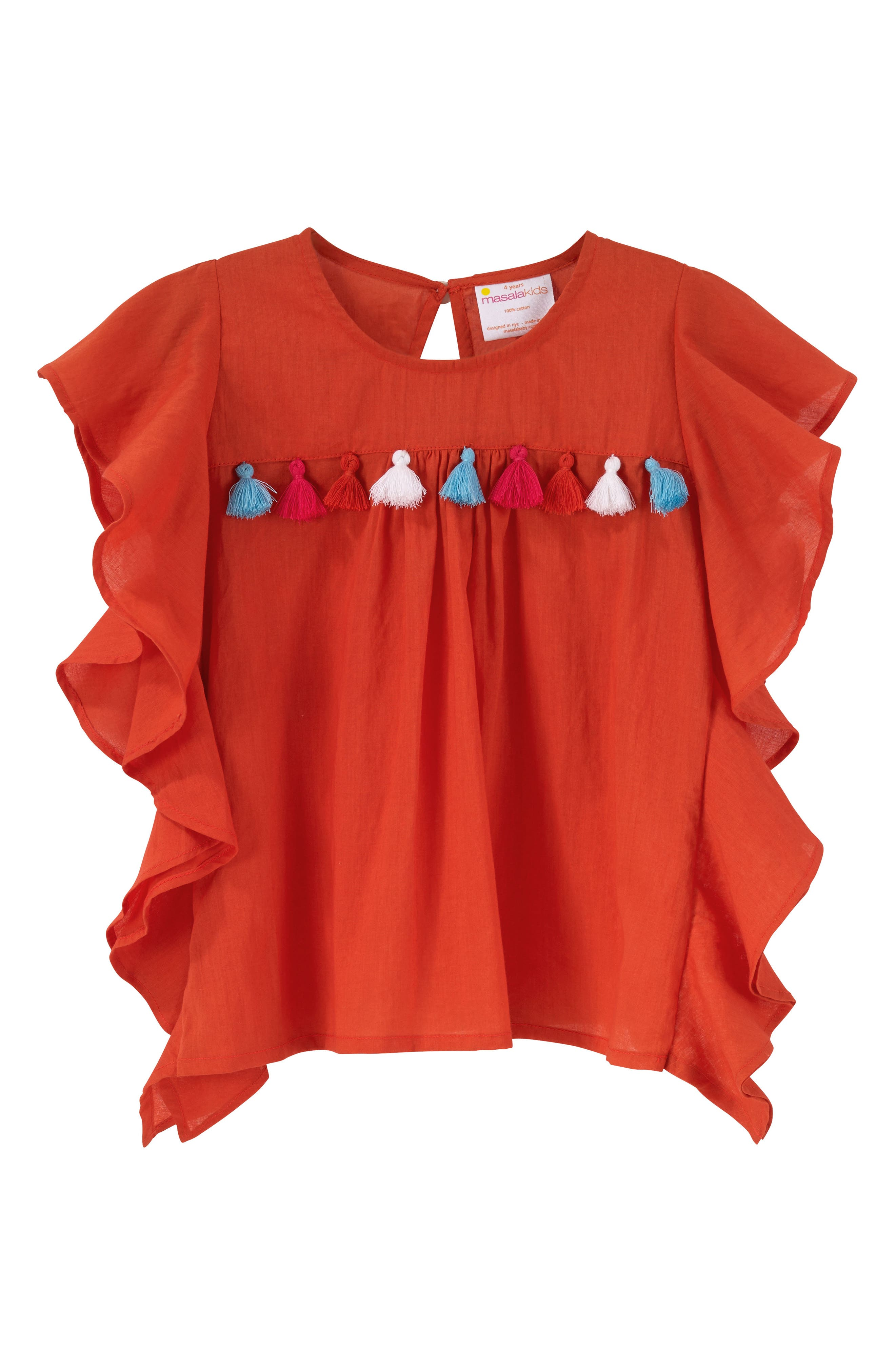 Wave Ruffle Top,                         Main,                         color, Coral