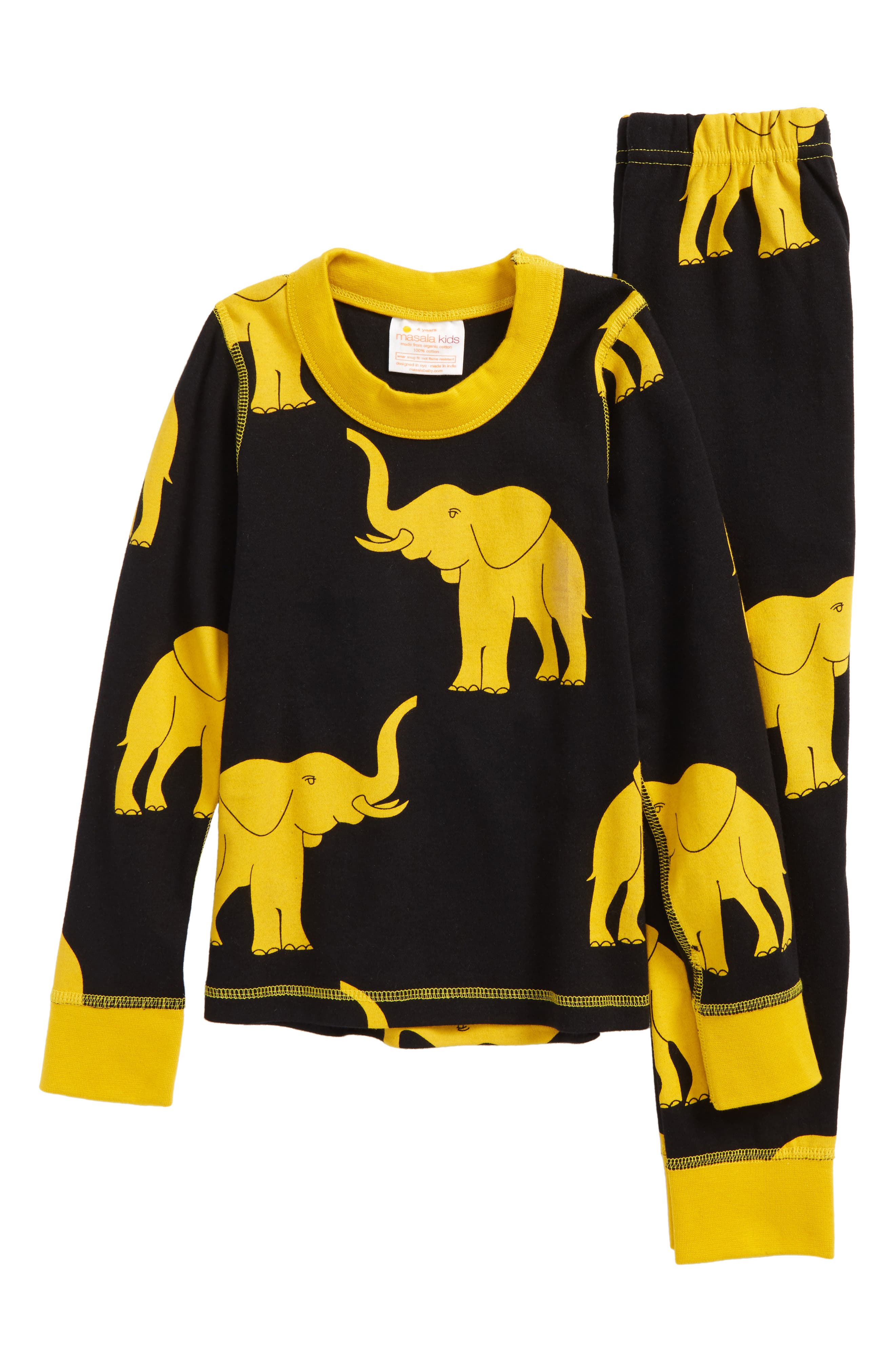 Main Image - Masalababy Elephant Organic Cotton Fitted Two-Piece Pajamas (Toddler Boys, Little Boys & Big Boys)