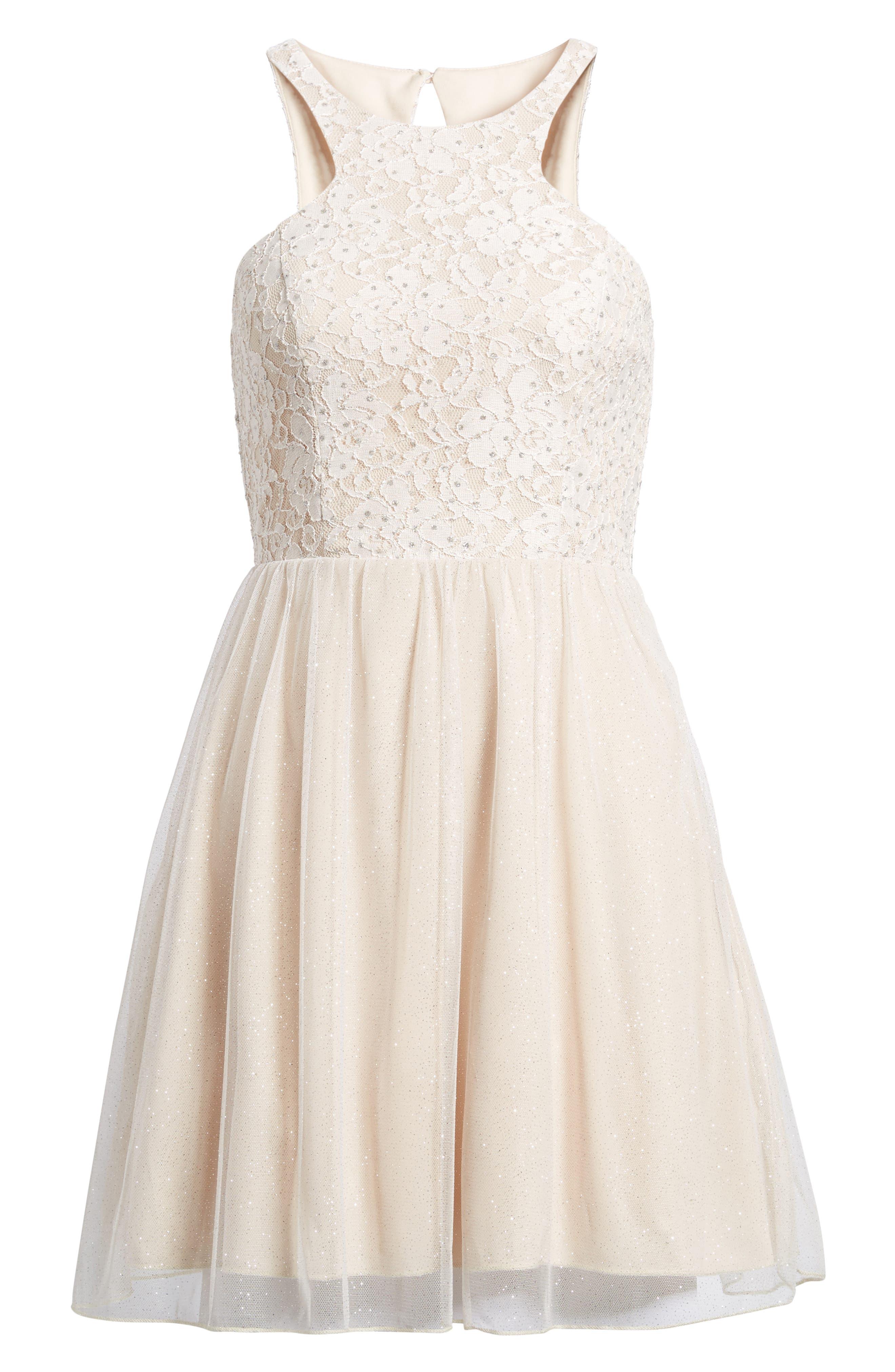 Glitter Tulle Dress,                             Alternate thumbnail 6, color,                             Blush