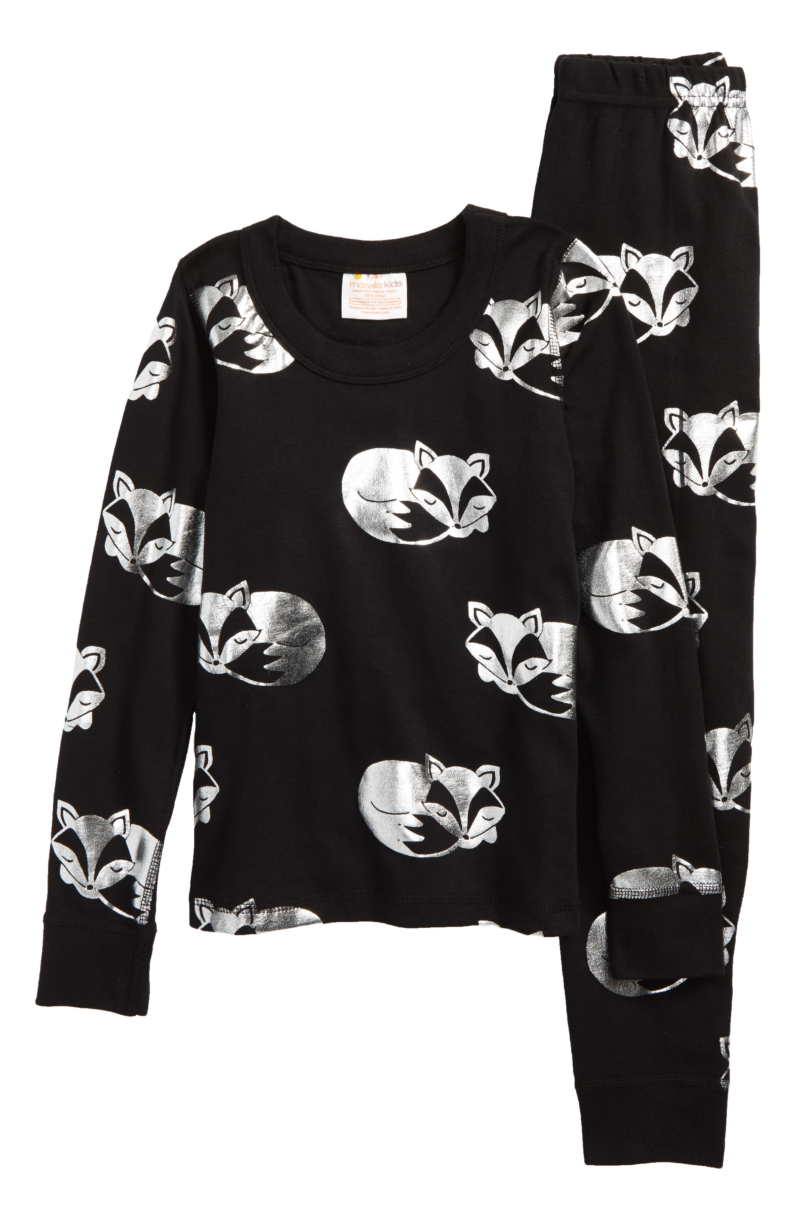 Sleeping Foxes Fitted Two-Piece Pajamas,                         Main,                         color, Black