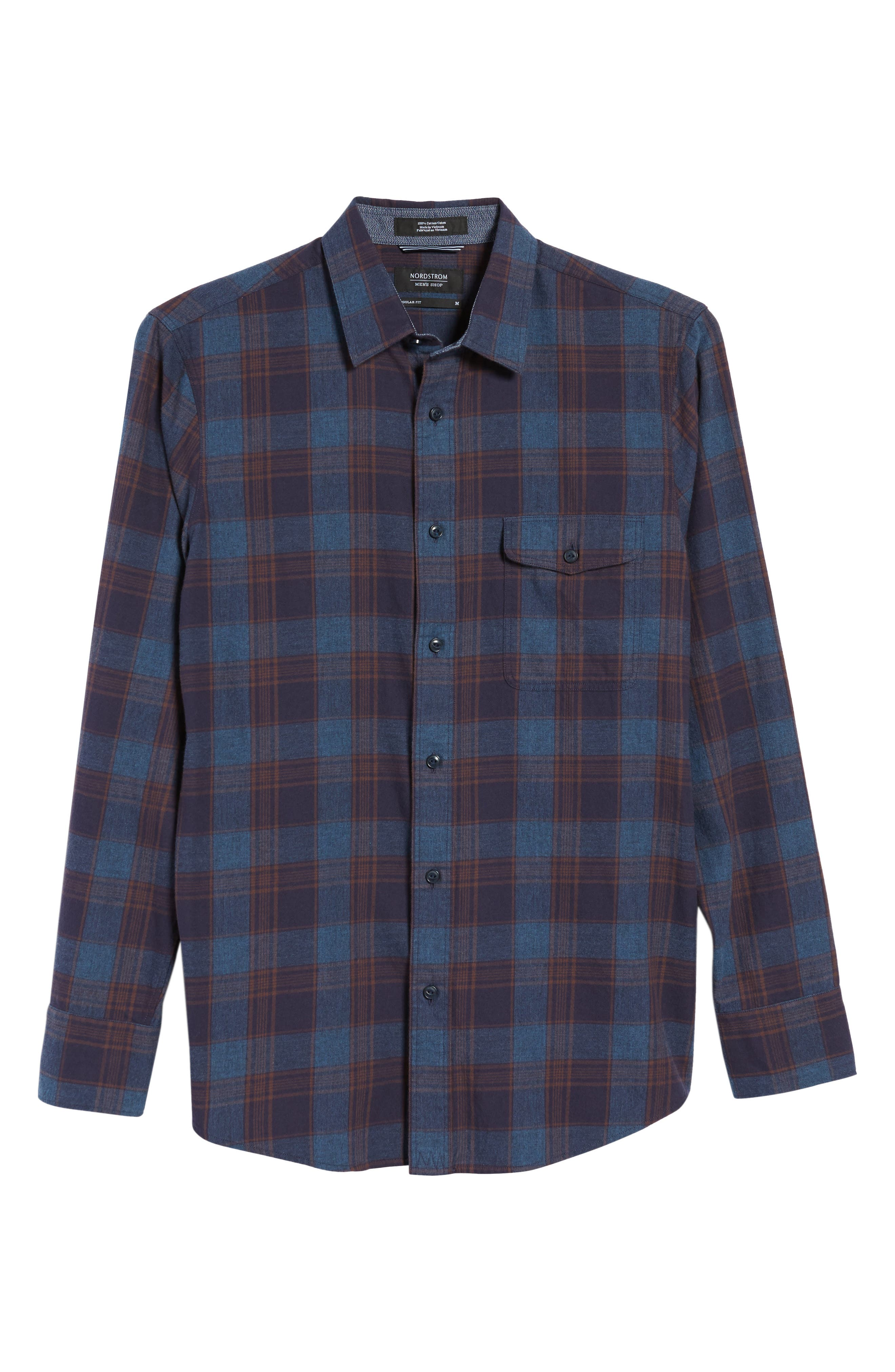 Regular Fit Lumber Check Flannel Shirt,                             Alternate thumbnail 6, color,                             Blue Canal Navy Plaid