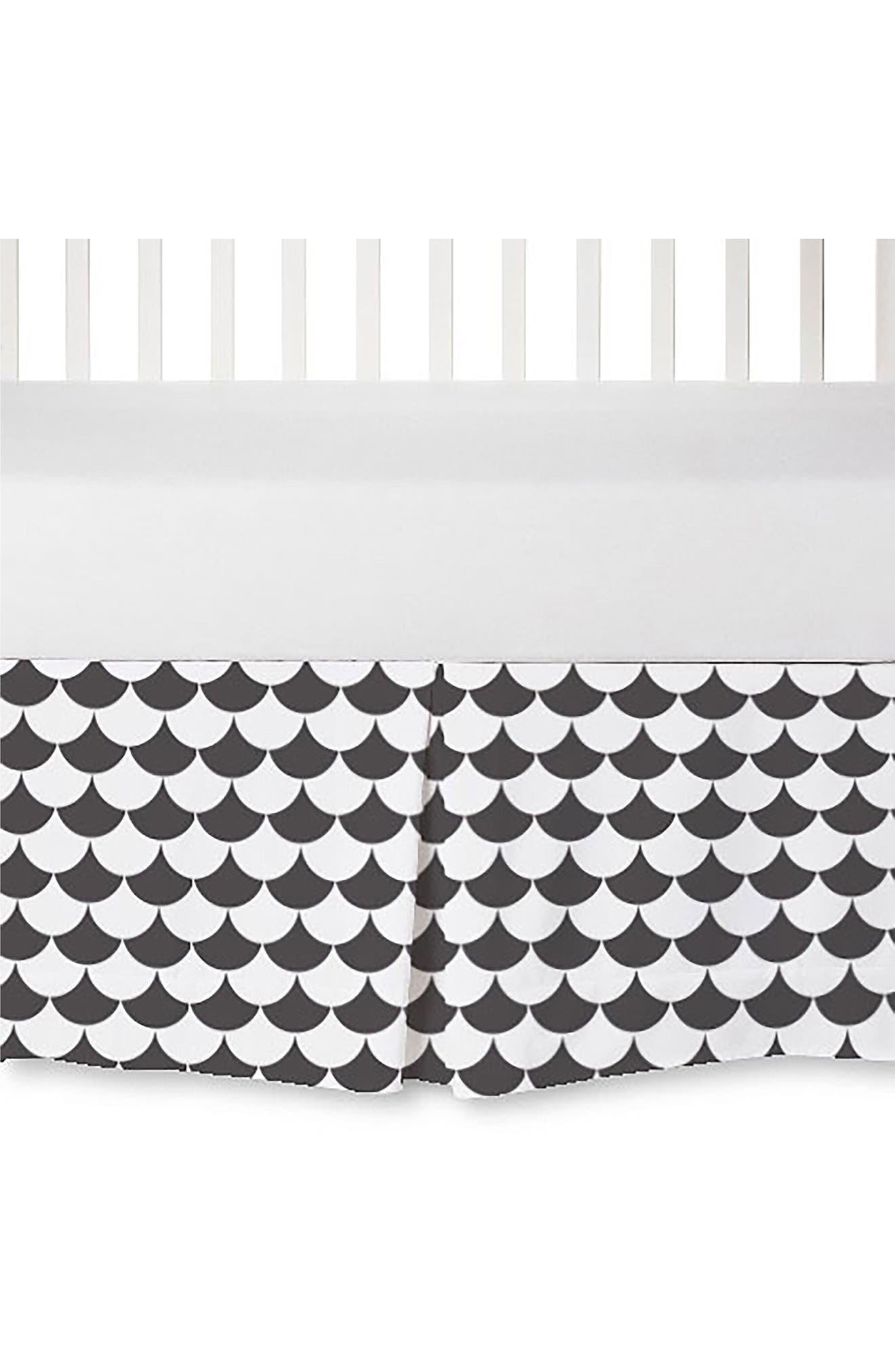 Crib Bed Skirt,                         Main,                         color, Black Scallop