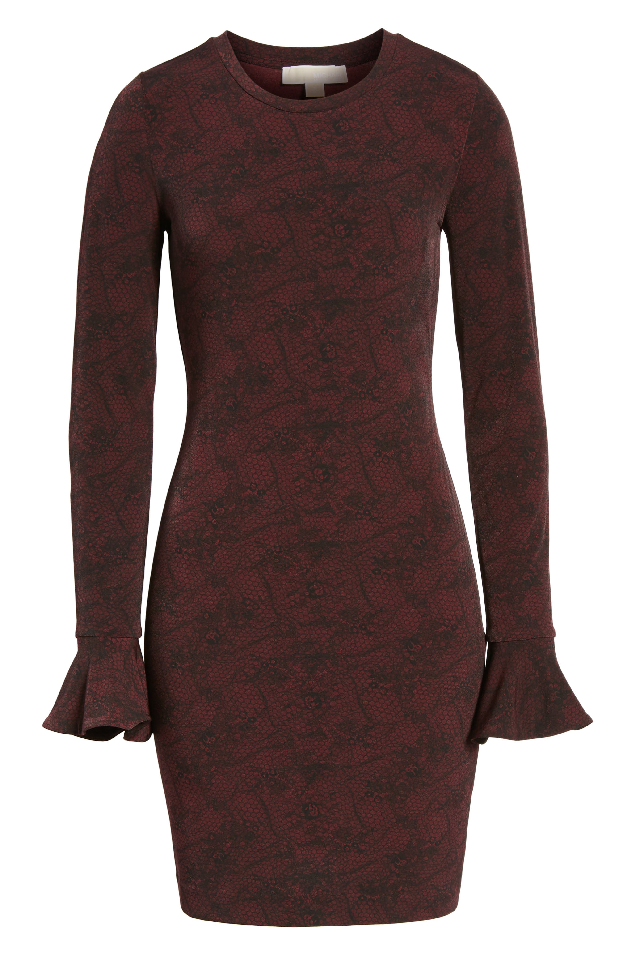 Floral Mesh Dress,                             Alternate thumbnail 6, color,                             Merlot/Black