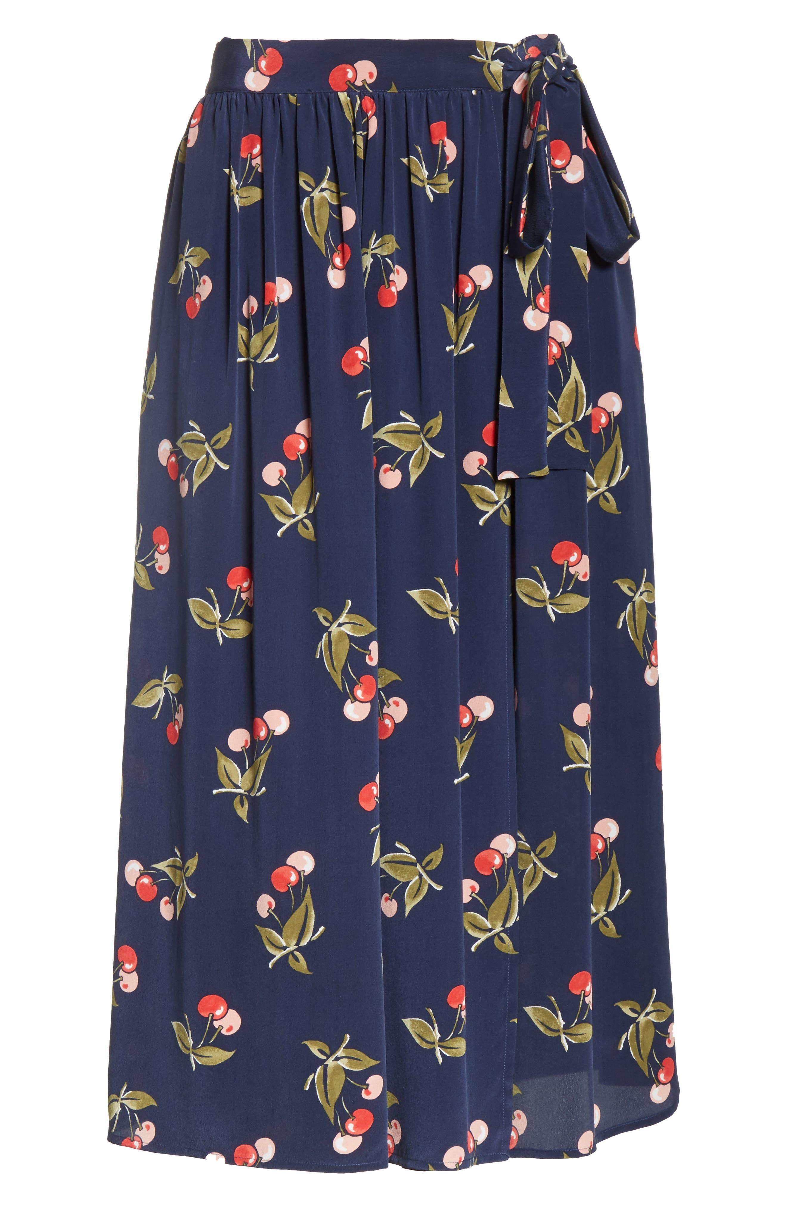 Almudena Cherry Print Silk Wrap Skirt,                             Alternate thumbnail 6, color,                             Dark Navy