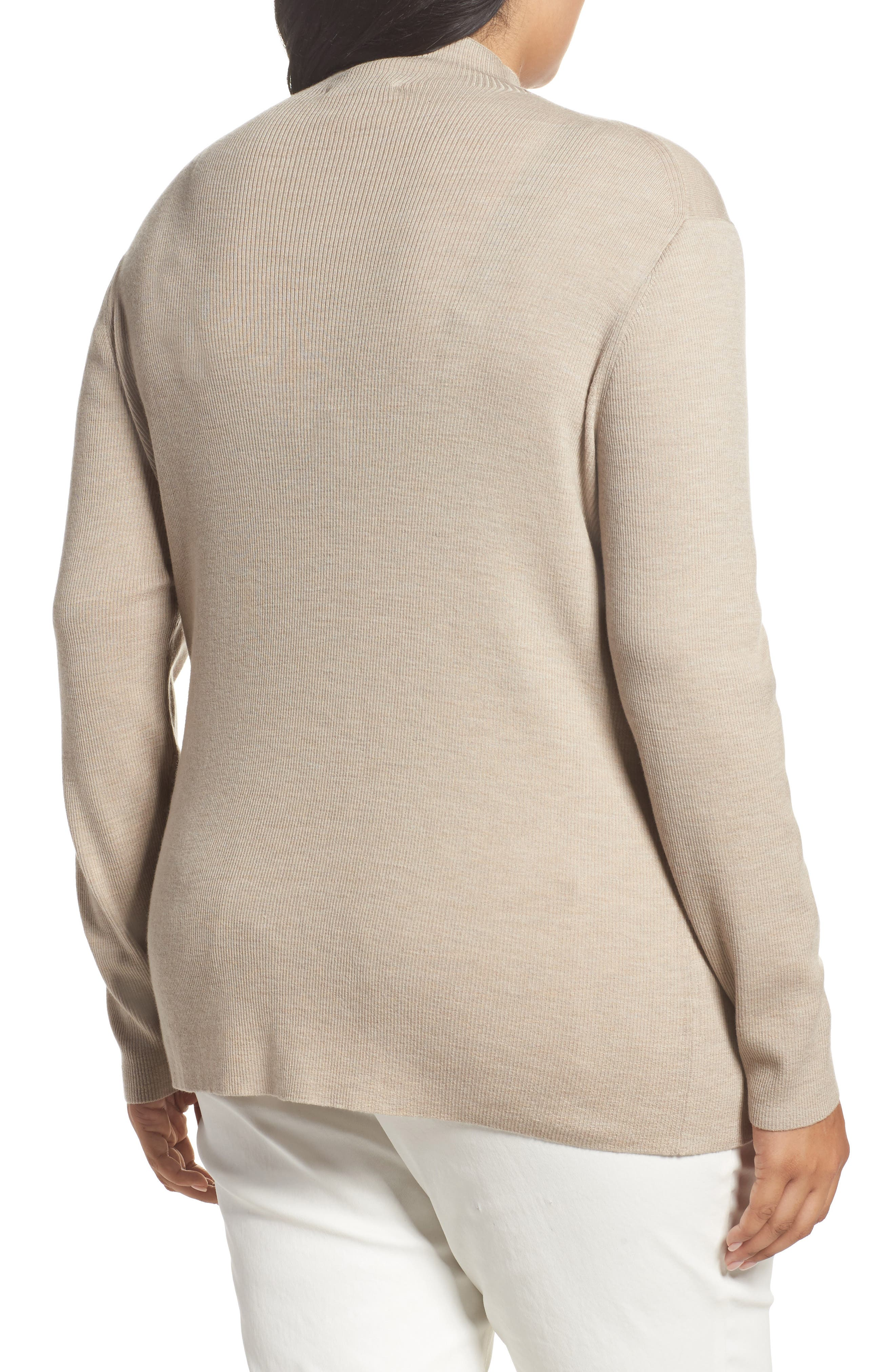 Alternate Image 2  - Lafayette 148 New York Skinny Ribbed Pullover (Plus Size)
