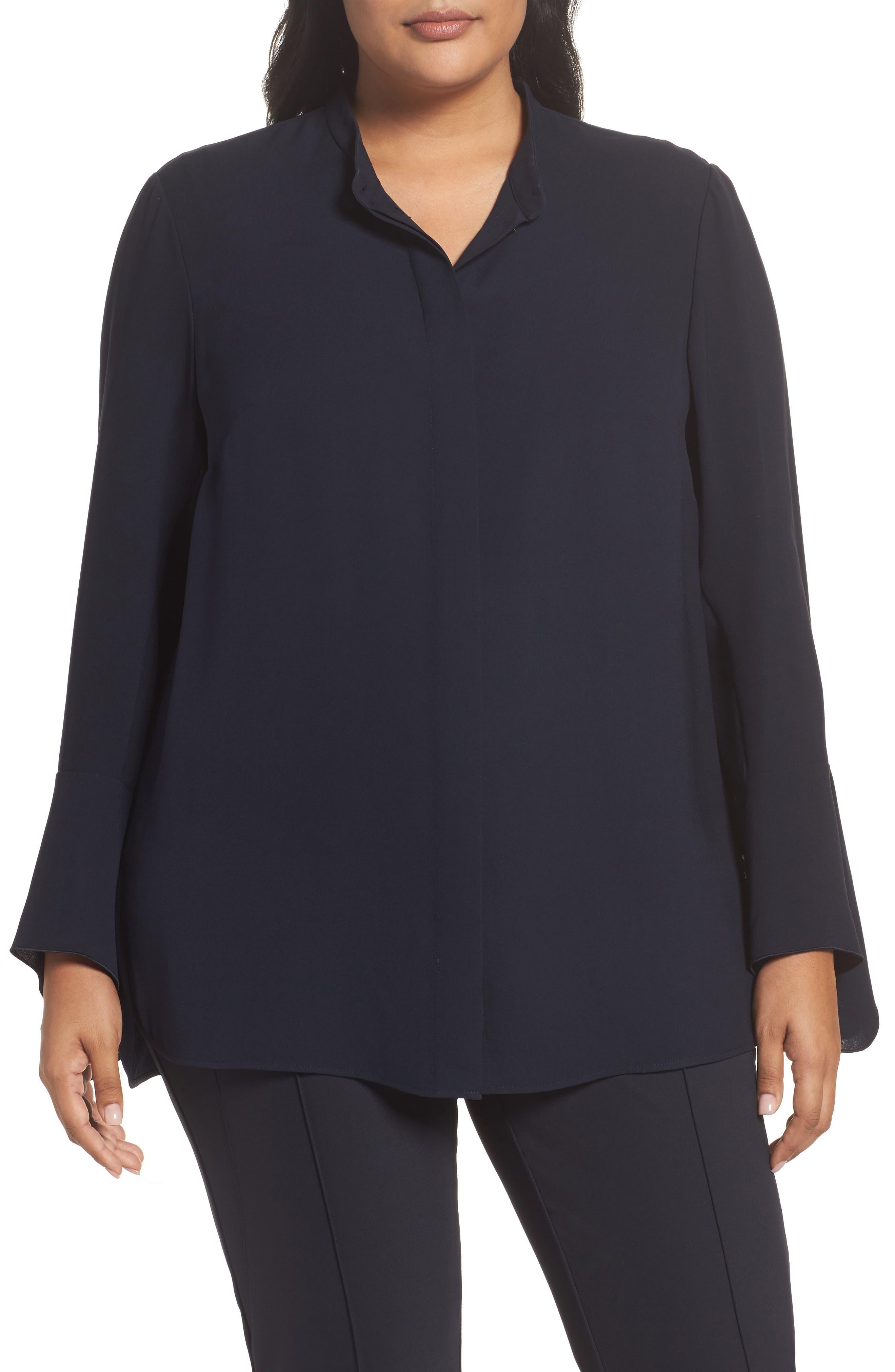 Main Image - Lafayette 148 New York Graydon Silk Blouse (Plus Size)