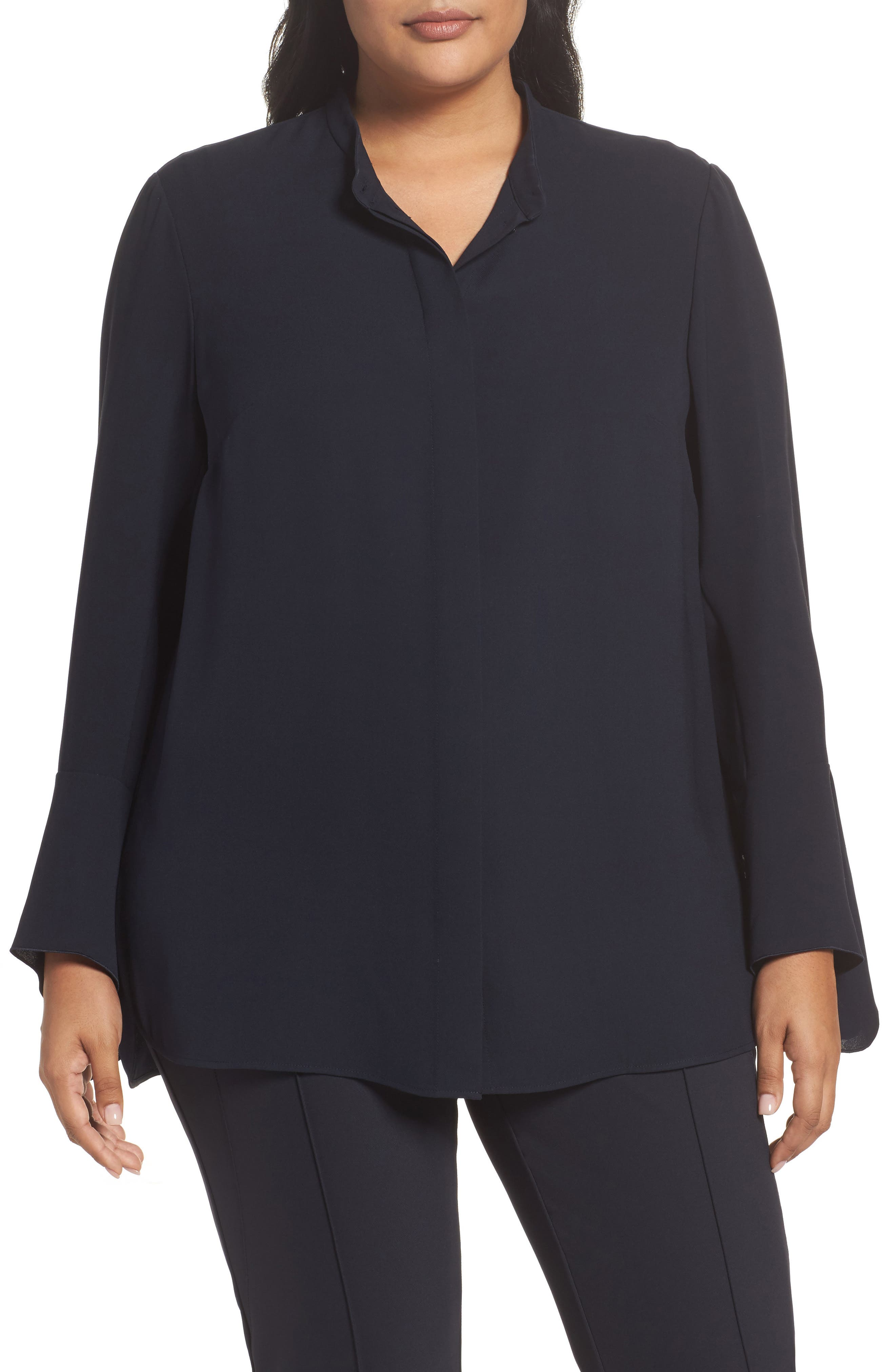 Lafayette 148 New York Graydon Silk Blouse (Plus Size)