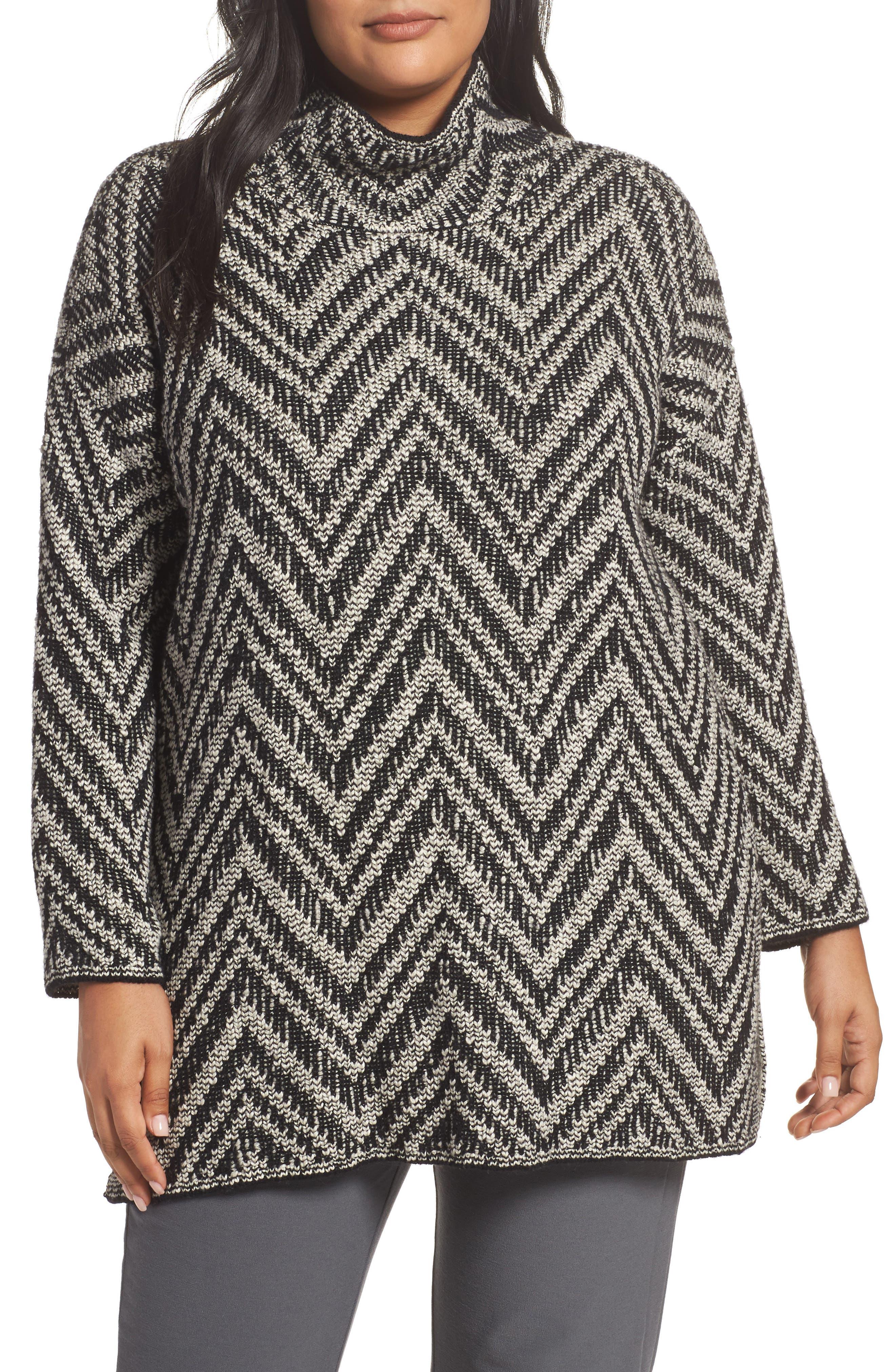 Zigzag Organic Cotton & Alpaca Tunic Sweater,                         Main,                         color, Charcoal