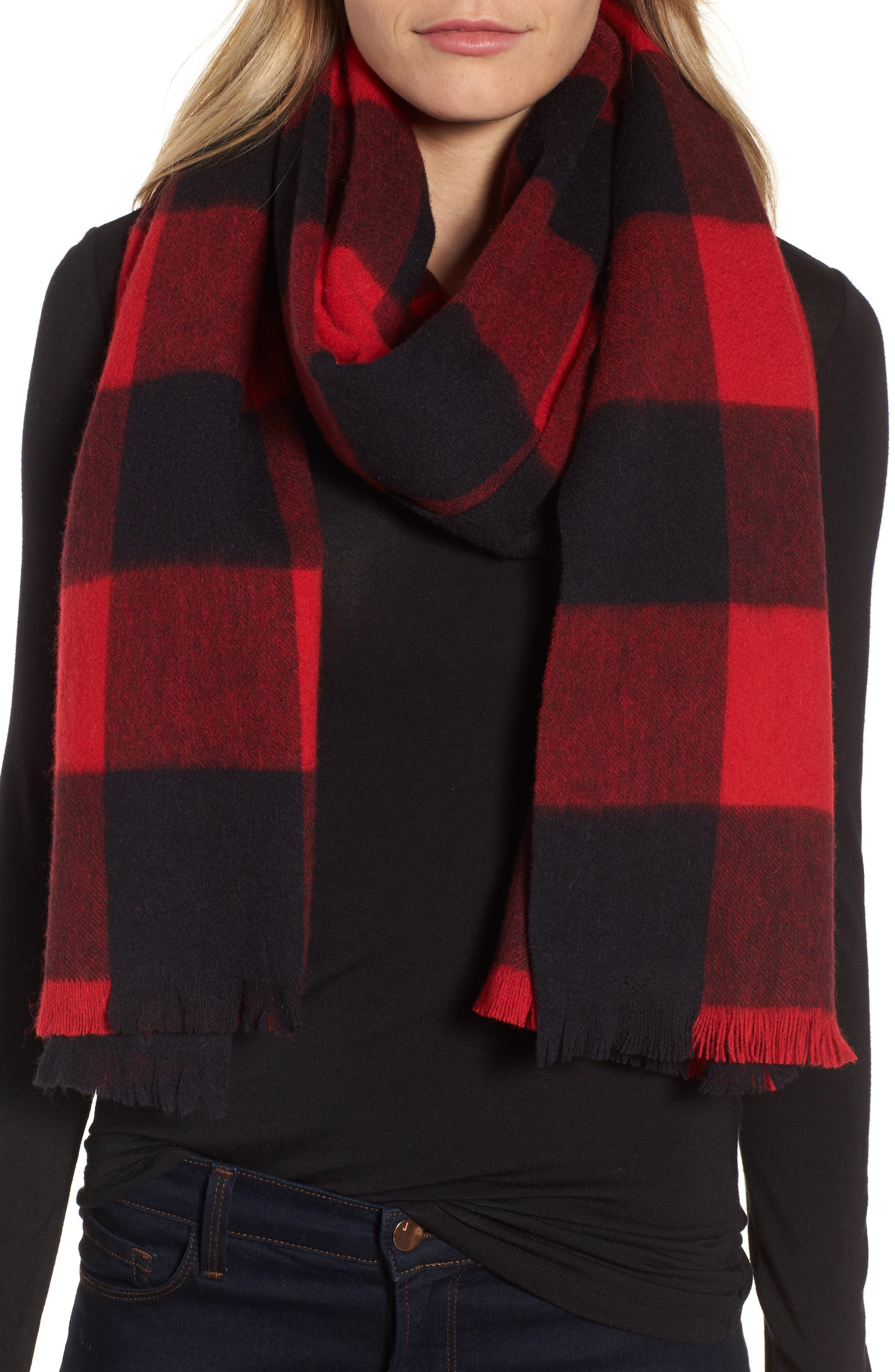 Alternate Image 1 Selected - kate spade new york mega check wool scarf