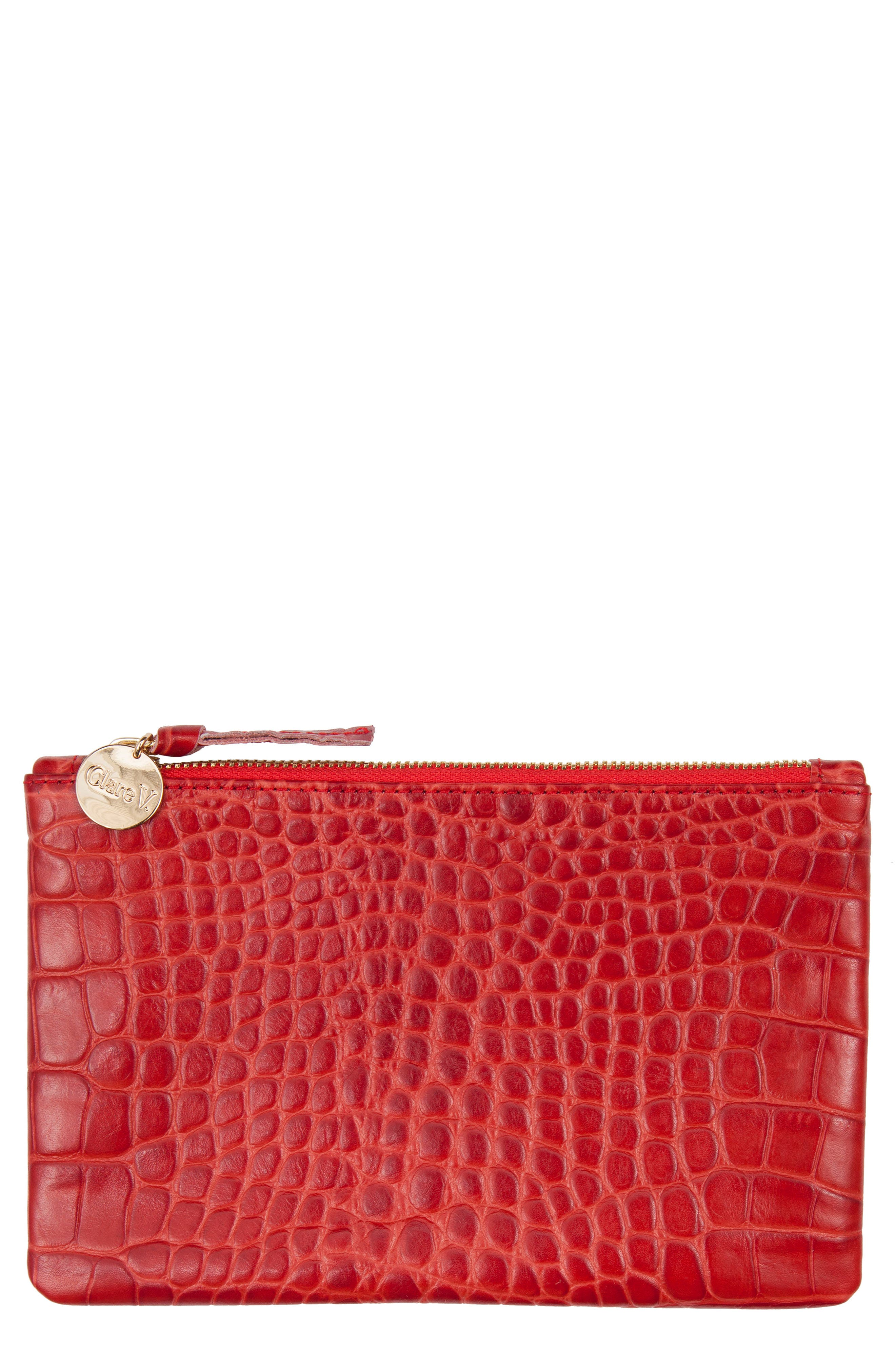 Croc Embossed Leather Wallet Clutch,                         Main,                         color, Red Croco