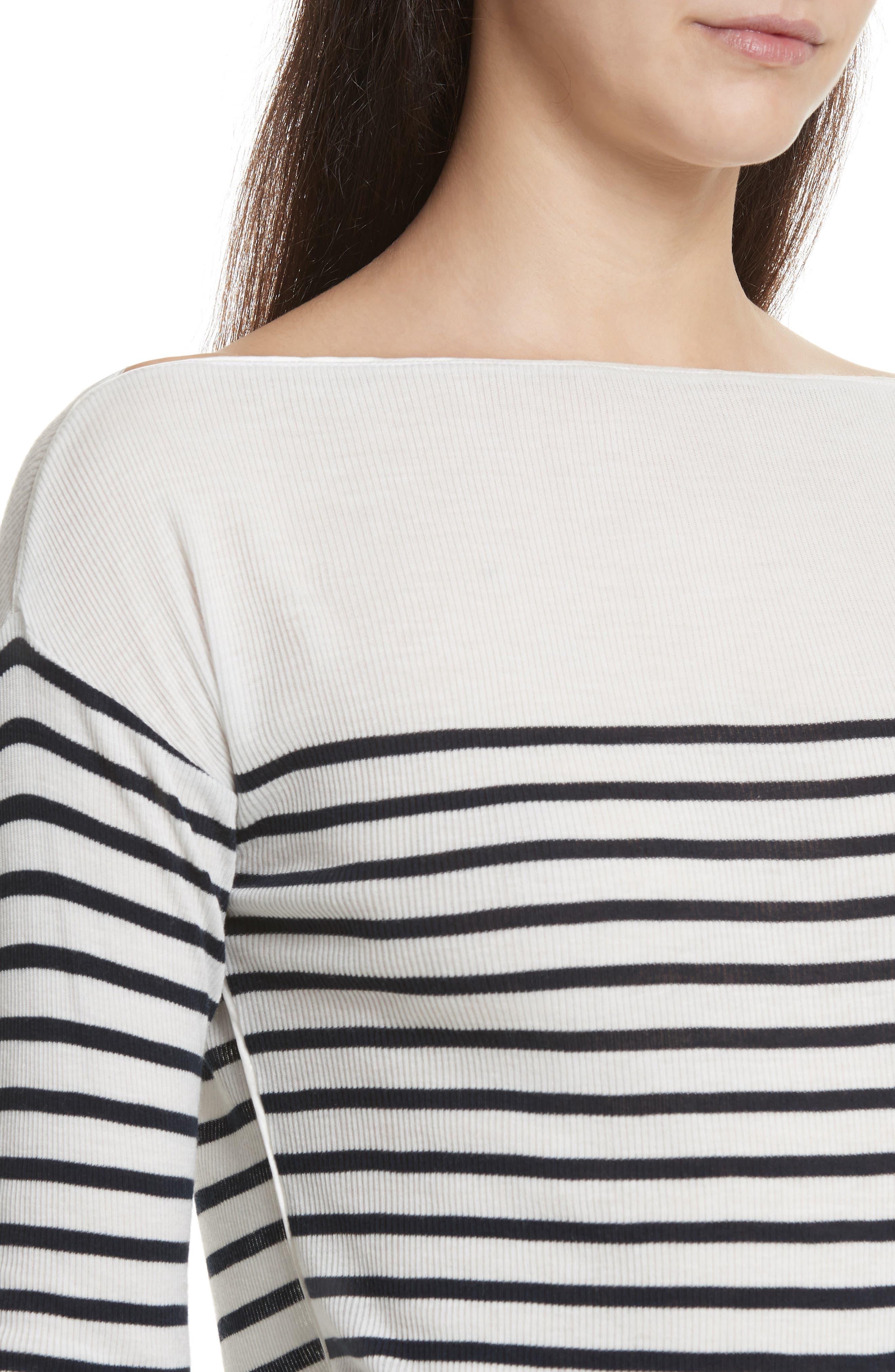 Madison Stripe Long Sleeve Top,                             Alternate thumbnail 4, color,                             Ivory/ Navy