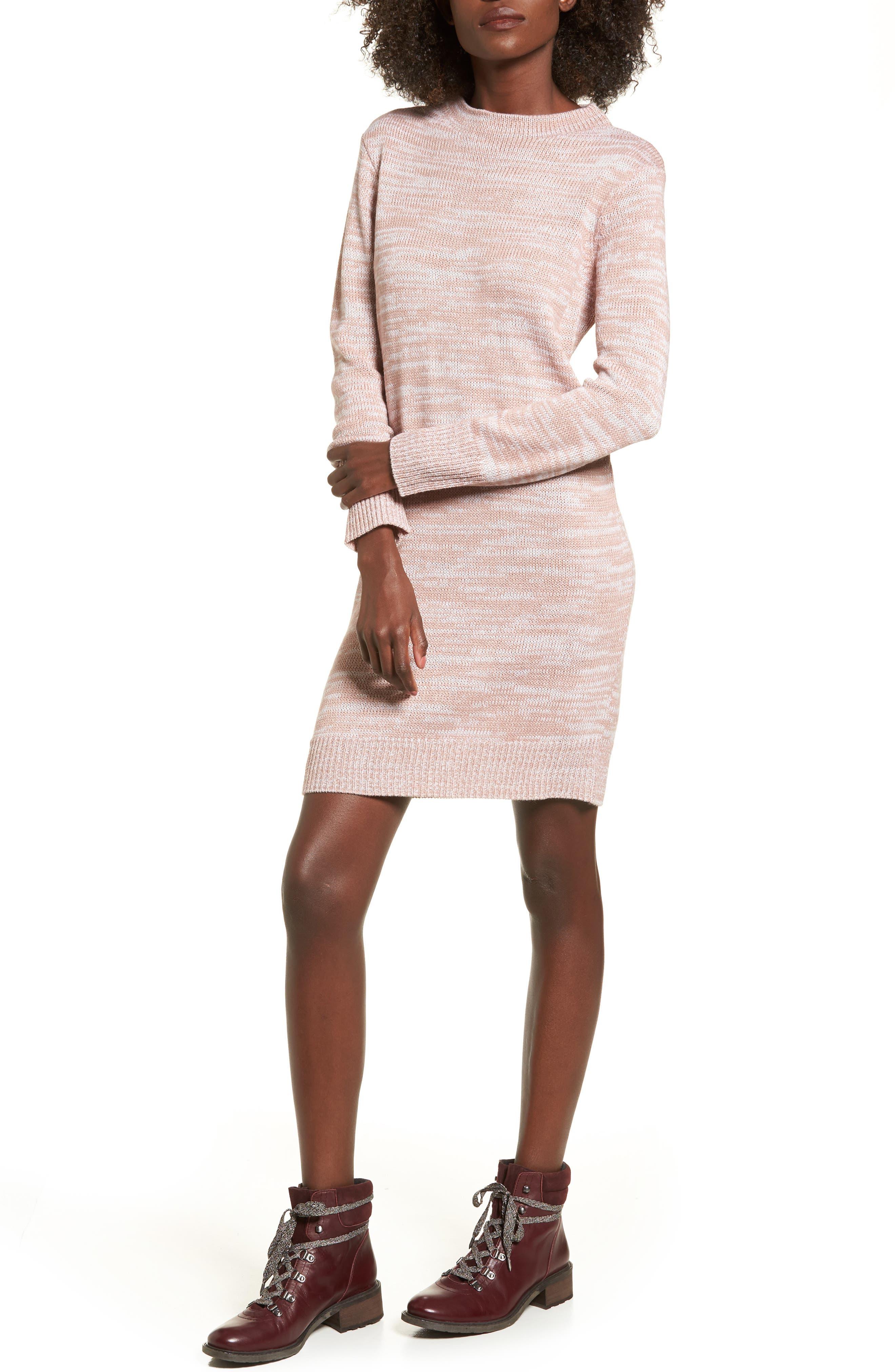 Mock Neck Sweater,                         Main,                         color, Pink Adobe/ Ivory