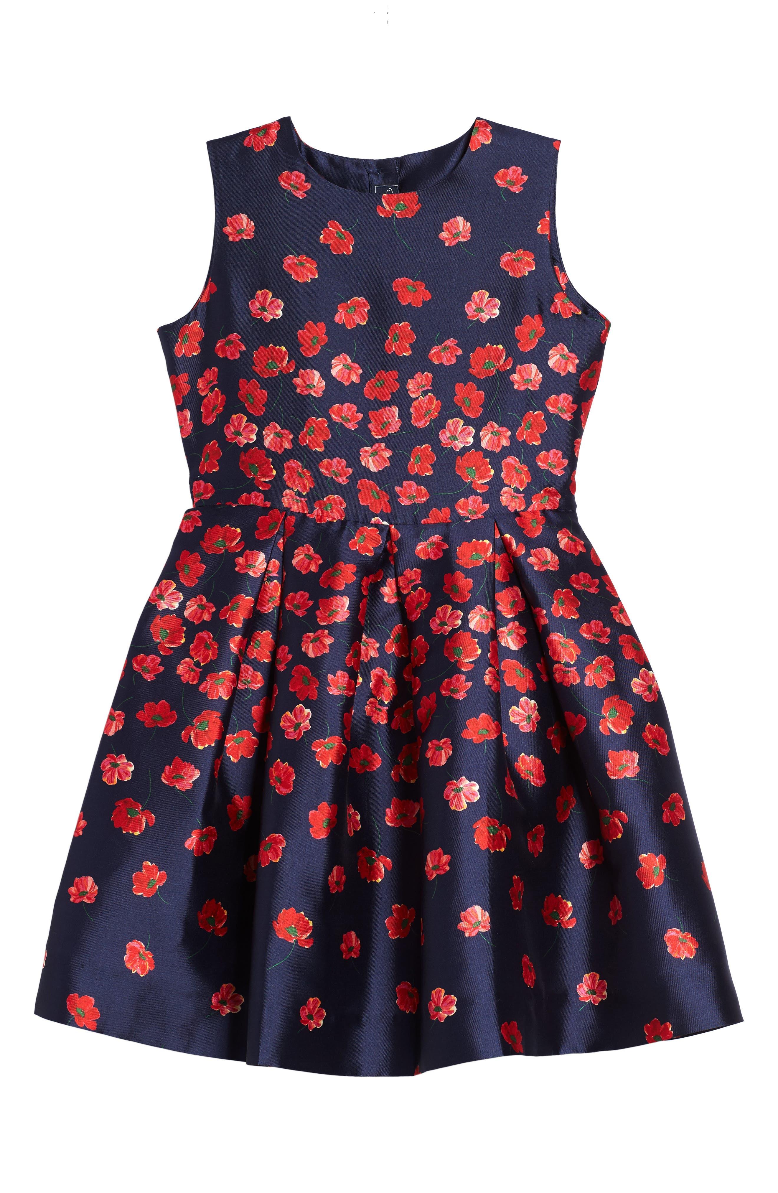 Oscar de la Renta Poppies Mikado Party Dress (Toddler Girls, Little Girls & Big Girls)