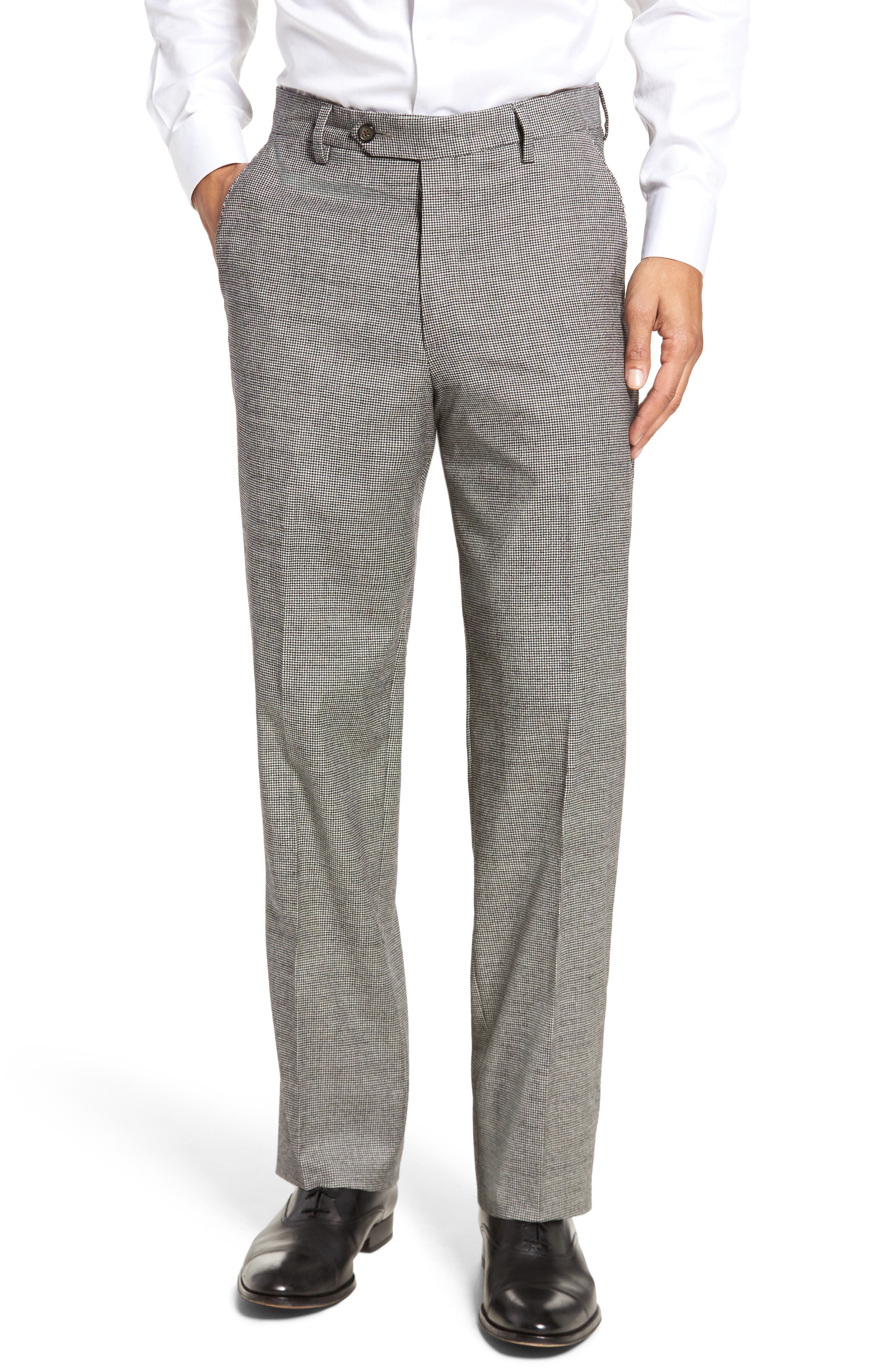 Flat Front Stretch Plaid Houndstooth Trousers,                         Main,                         color, Black/ White