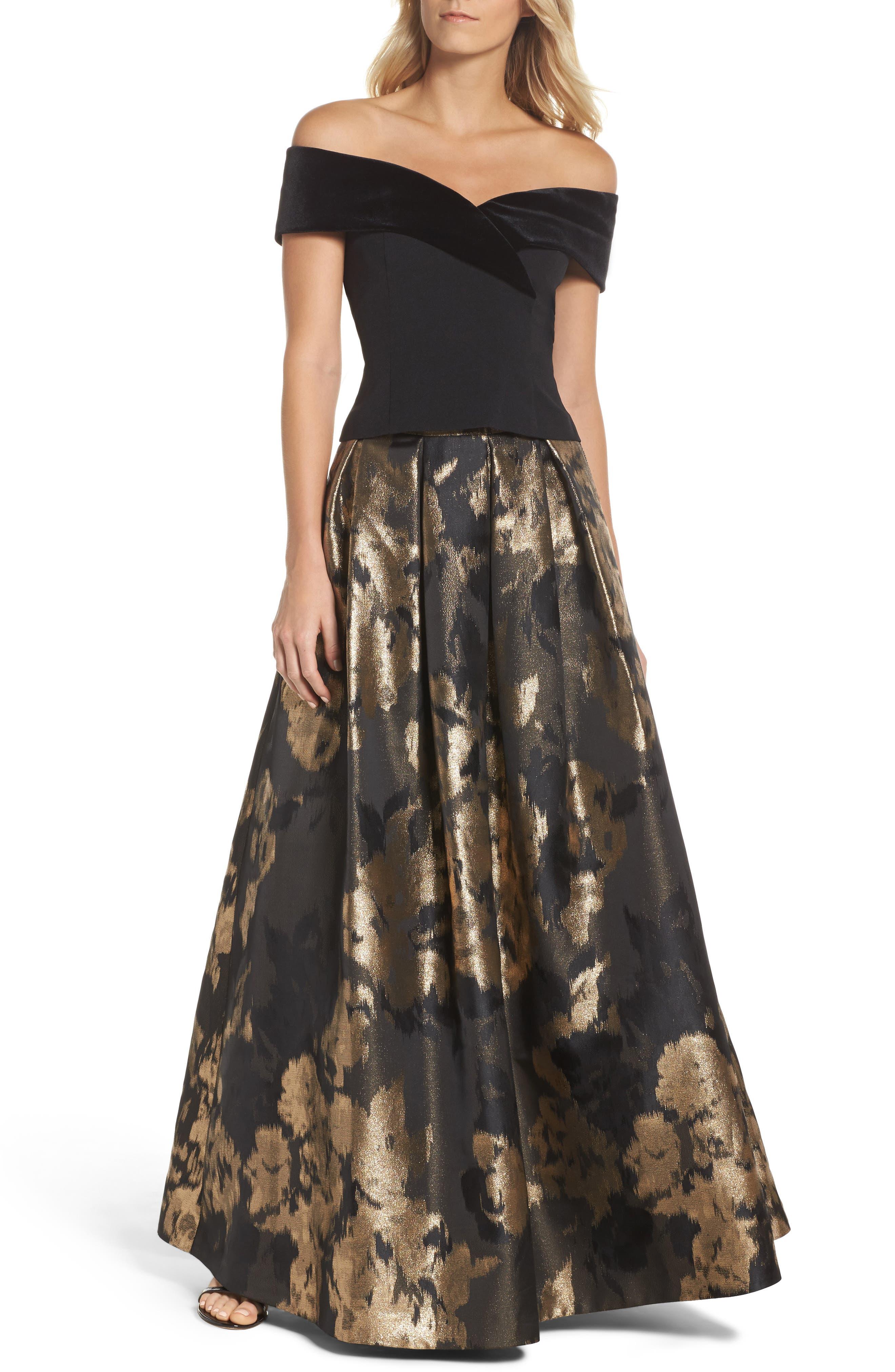 Off the Shoulder Velvet & Crepe Top,                         Main,                         color, Black