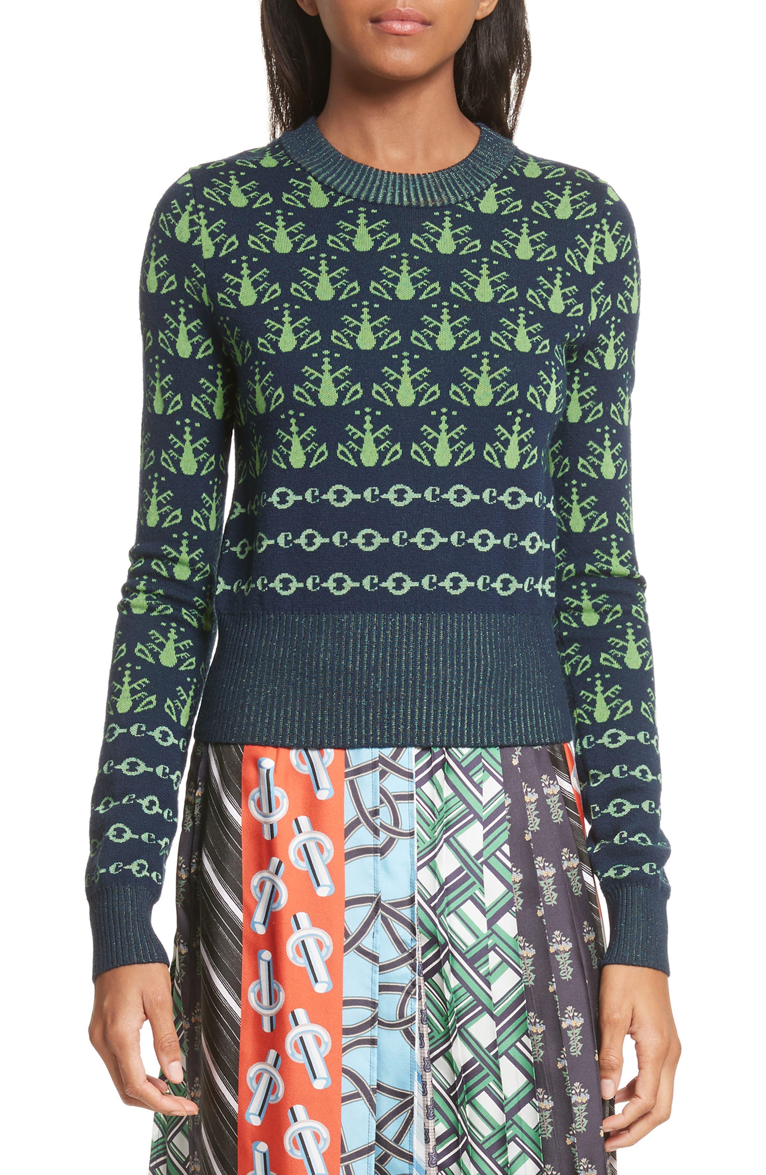 Merino Wool Sweater,                         Main,                         color, Vert Vif